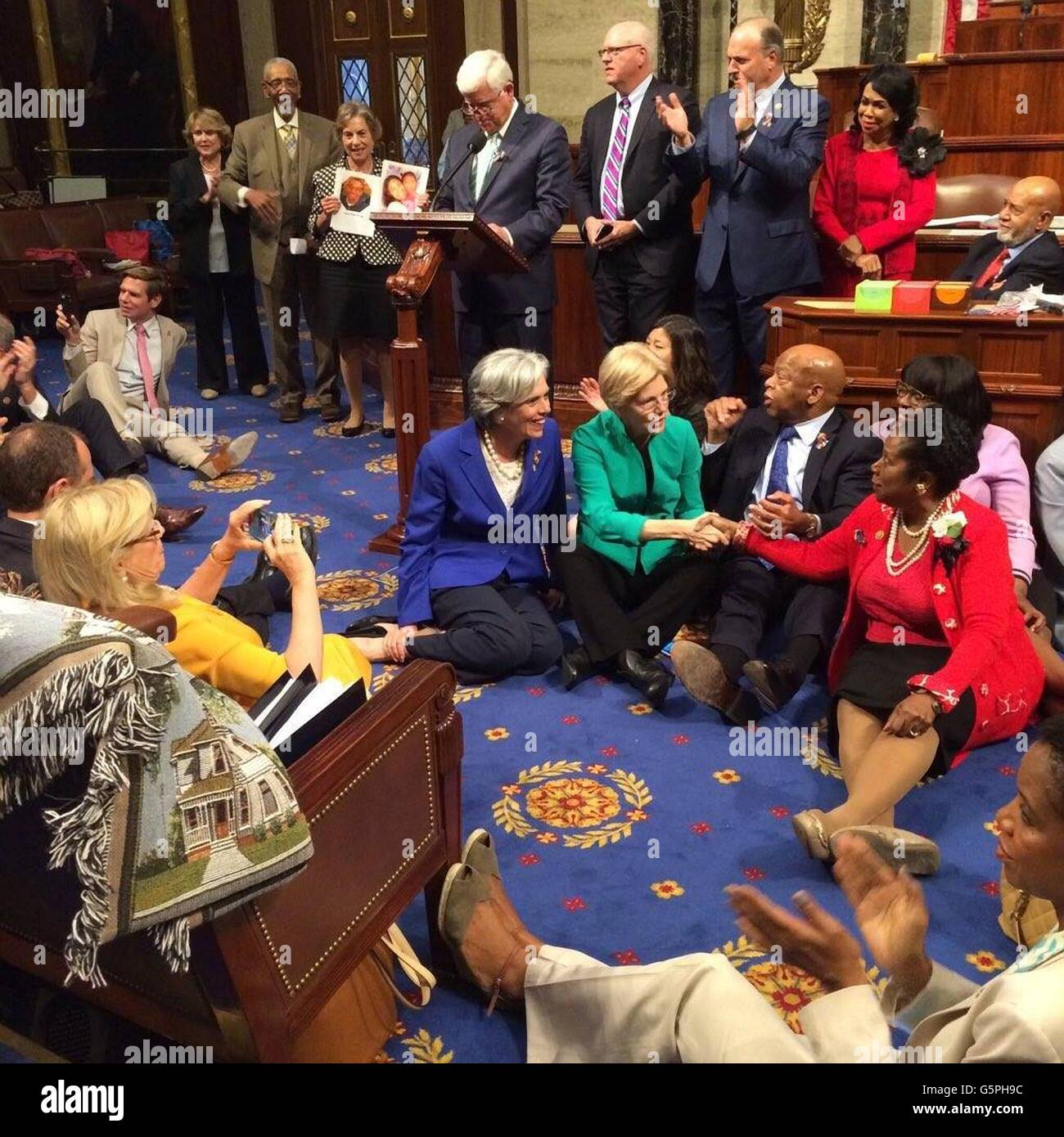 Washington DC., USA. 22nd June, 2016. U.S Rep. John Lewis, sitting right, leads a group of Democrats from the House - Stock Image