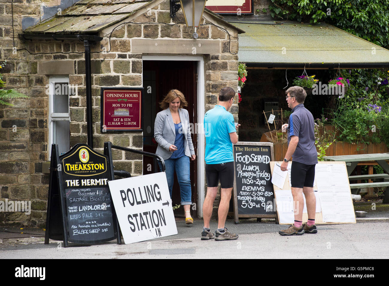 The Hermit, a village pub in Burley Woodhead, West Yorkshire, Britain. 23rd June, 2016. About to cast their vote, - Stock Image