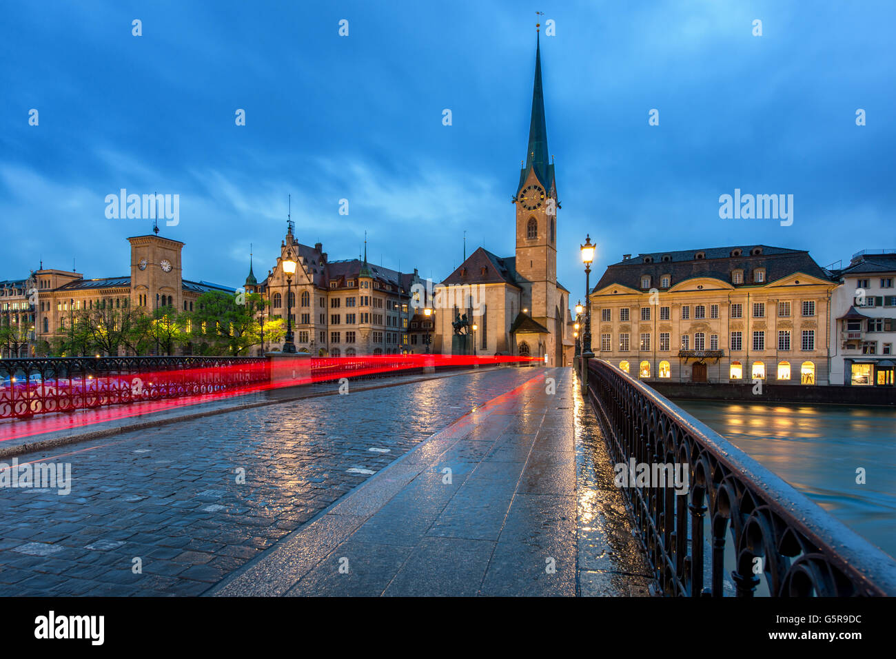 Zurich skyline in Switzerland. Image of Zurich during dramatic twlight in Switzerland. Zurich is large city of Switzerland. - Stock Image