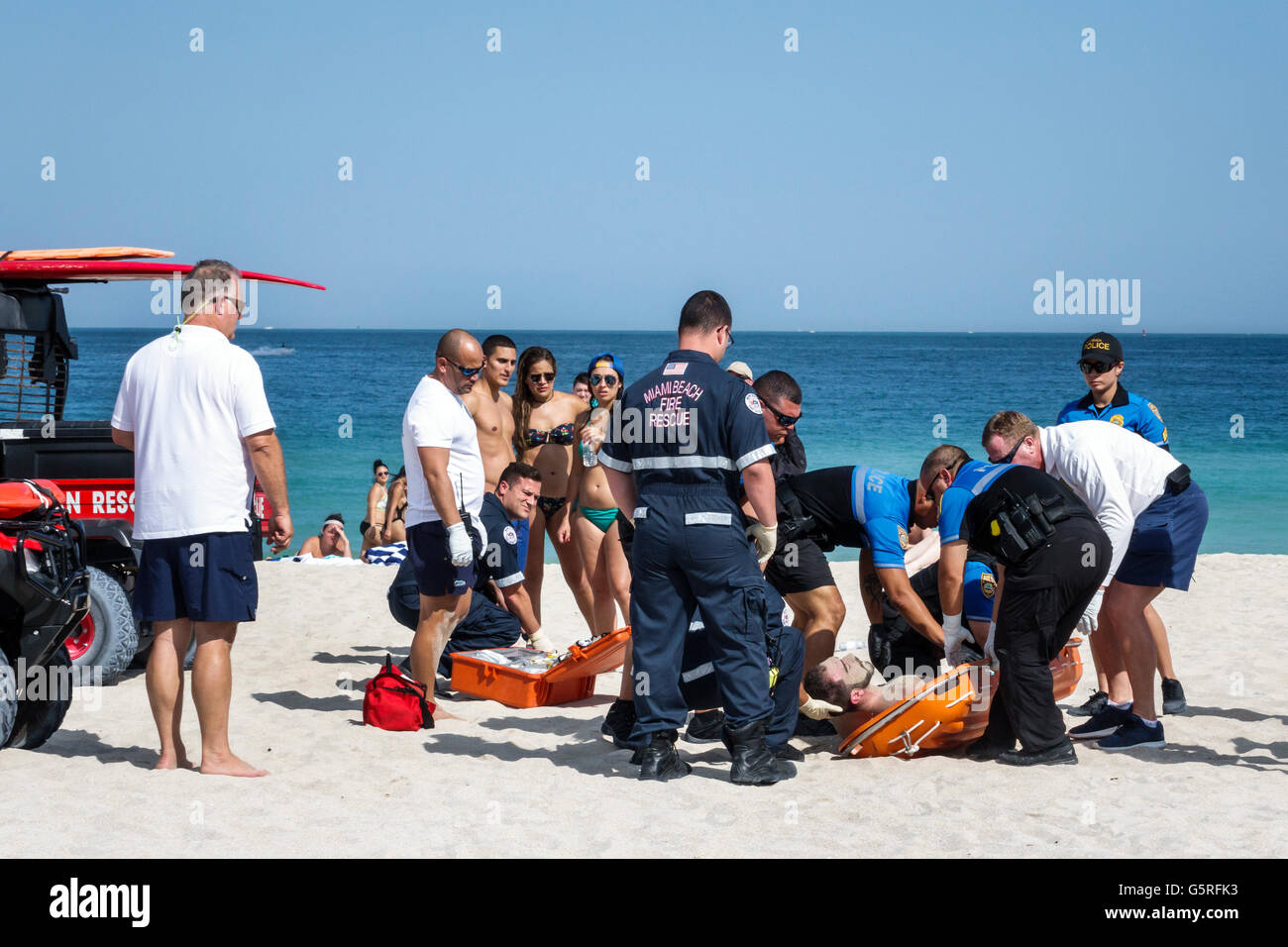 Miami Florida Beach Atlantic Ocean public sand Ocean Rescue police department EMT emergency medical technician paramedic - Stock Image