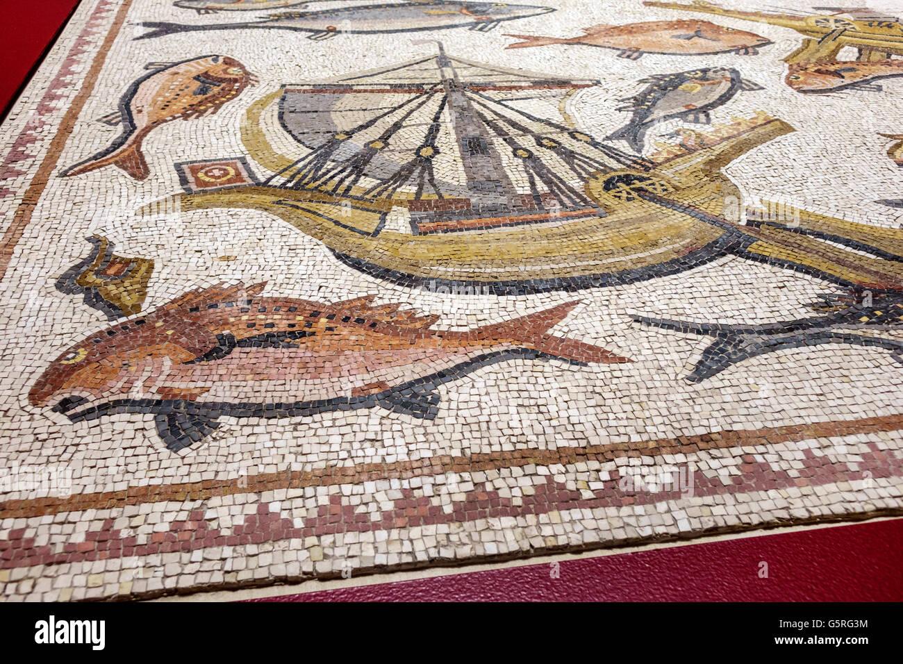 Miami Florida FIU International University campus Frost Art Museum Predators Prey Roman Mosaic Lod Israel detail Stock Photo