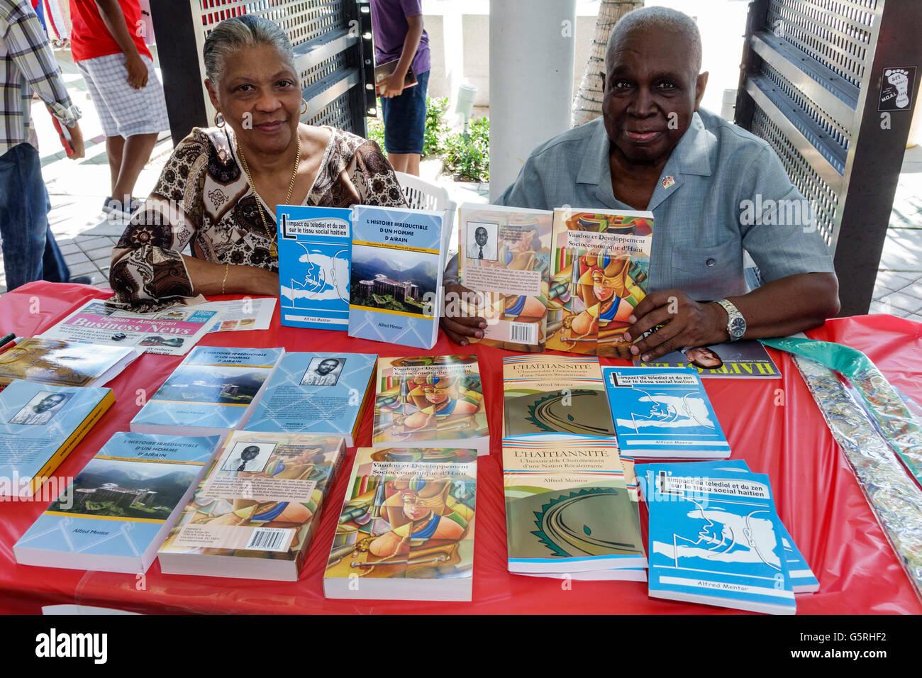 Miami Florida Little Haiti Cultural Center center Haitian-Caribbean Book Fair annual event author exhibitor vendor - Stock Image