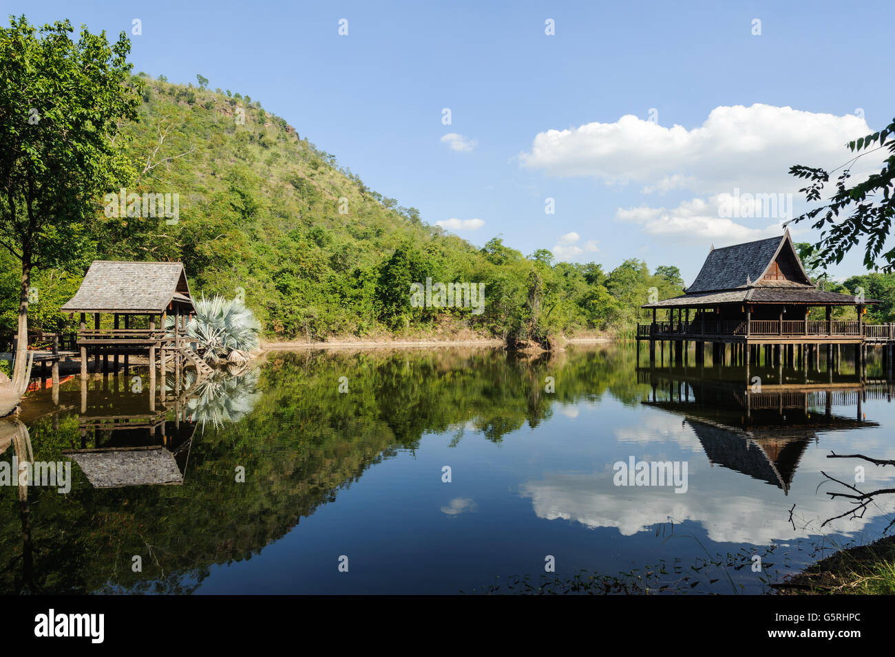 Pavilion reflection of water lake in Thailand - Stock Image