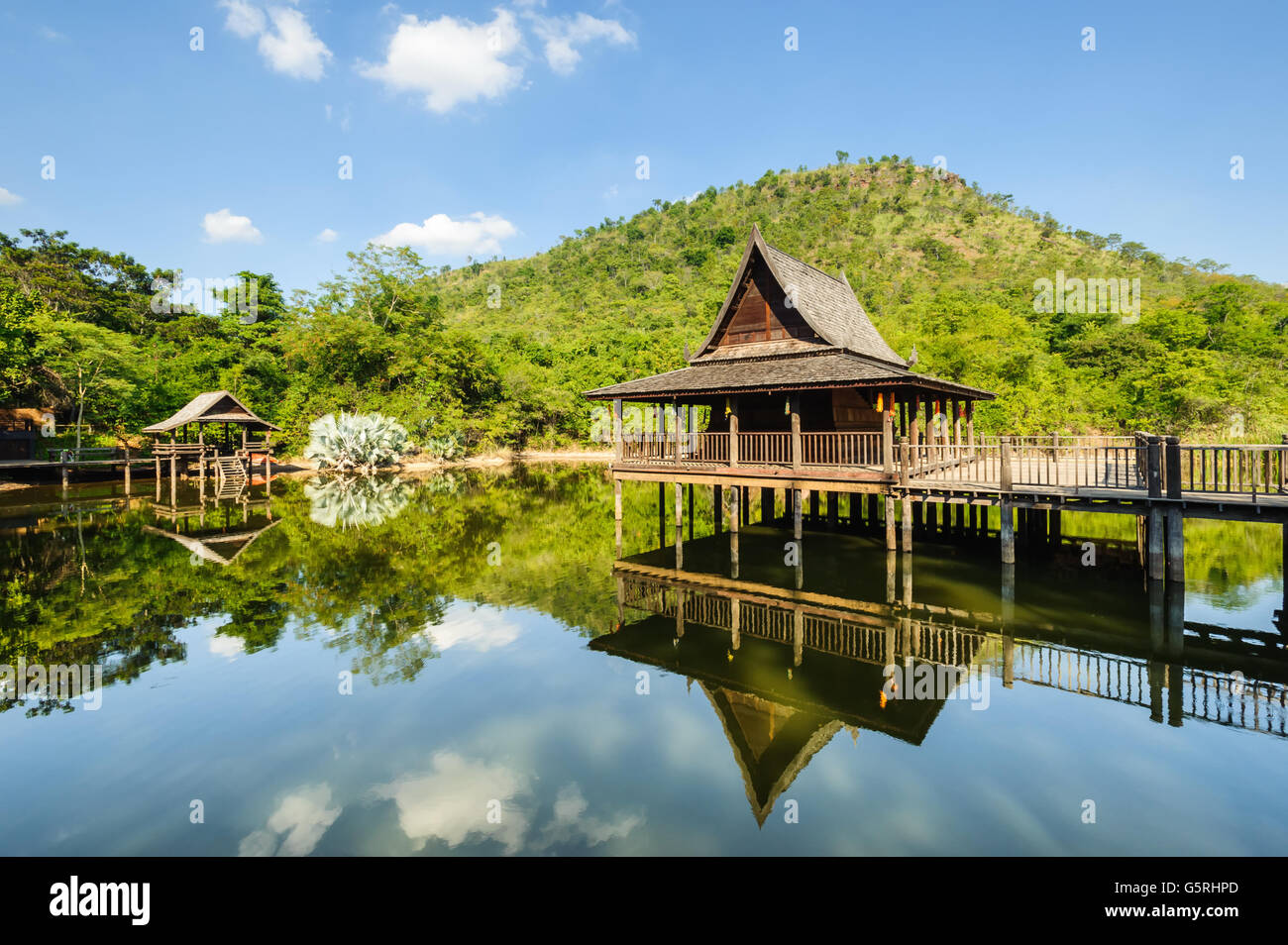 Pavilion  rflection of water lake in Thailand - Stock Image
