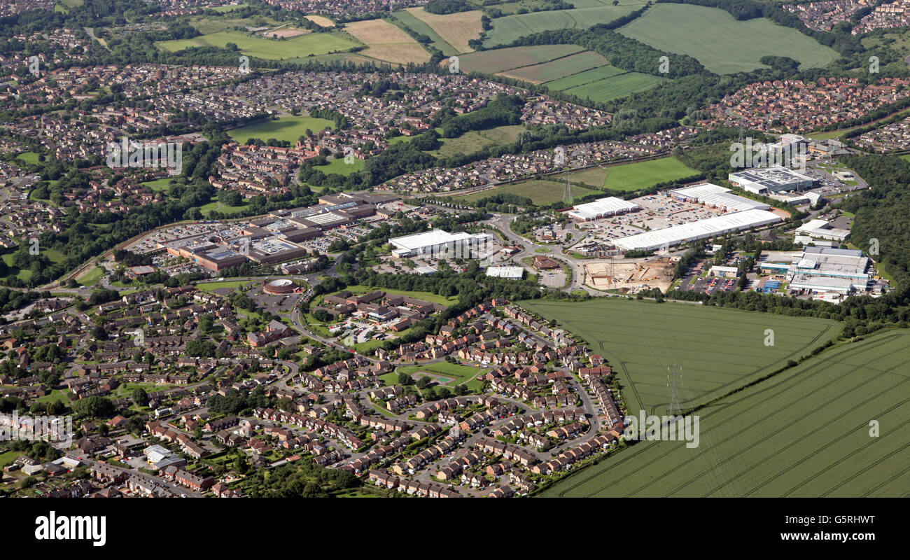 aerial view of Drakehouse Retail Park & Crystal Peaks Shopping Mall & Beighton Community Hospital, near - Stock Image