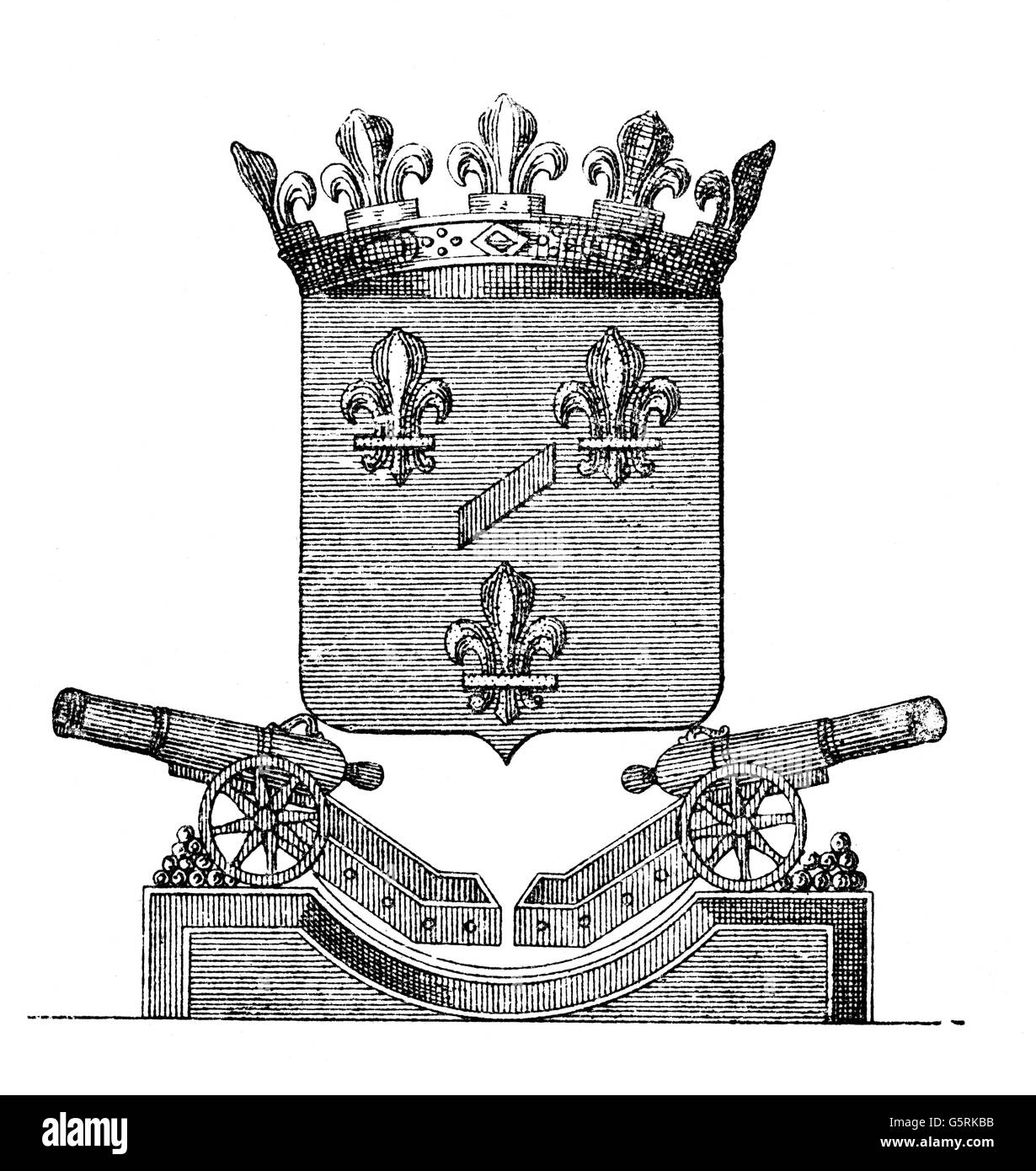 heraldry, coat of arms of the French Grand Master of Artillery, Count of Eu, 1710, Additional-Rights-Clearences - Stock Image