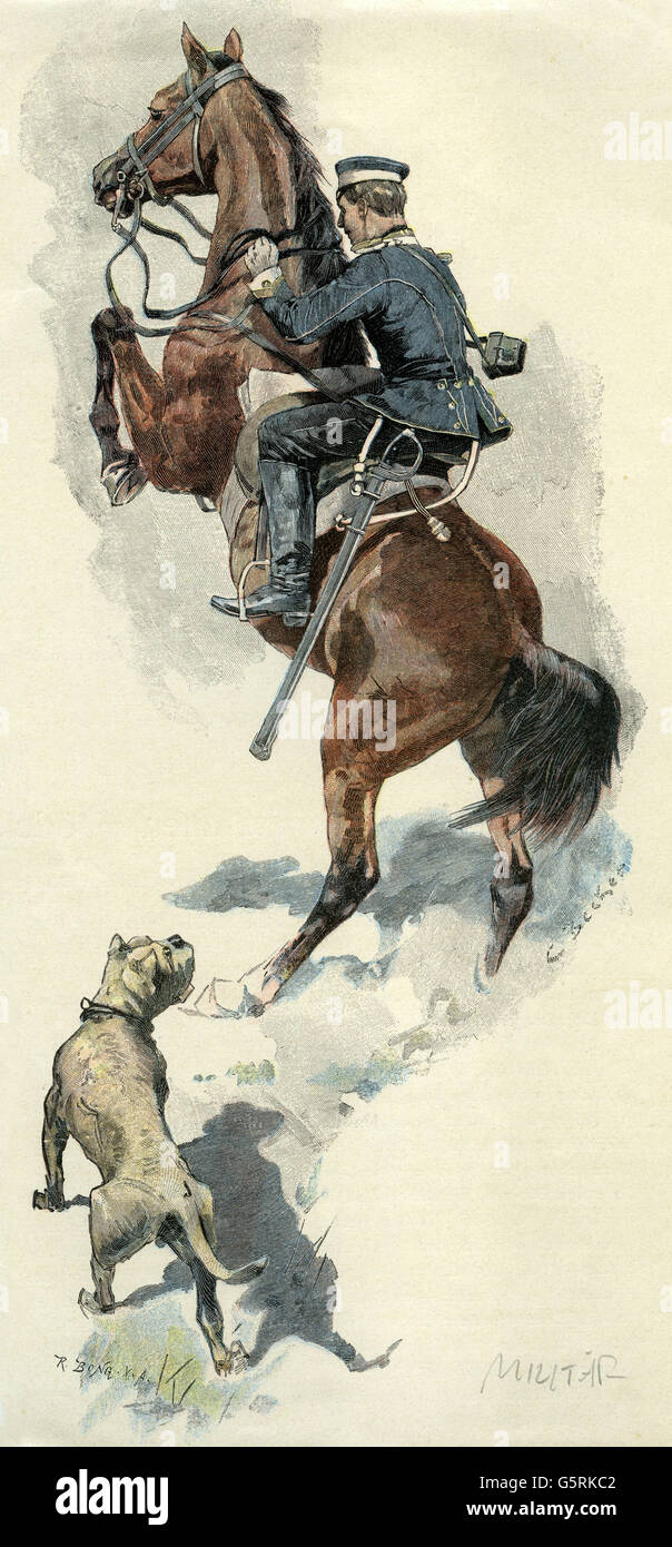 military, Germany, German Empire, 'Unangenehme Stoerung' (Unpleasant Disturbance), wood engraving, coloured, - Stock Image