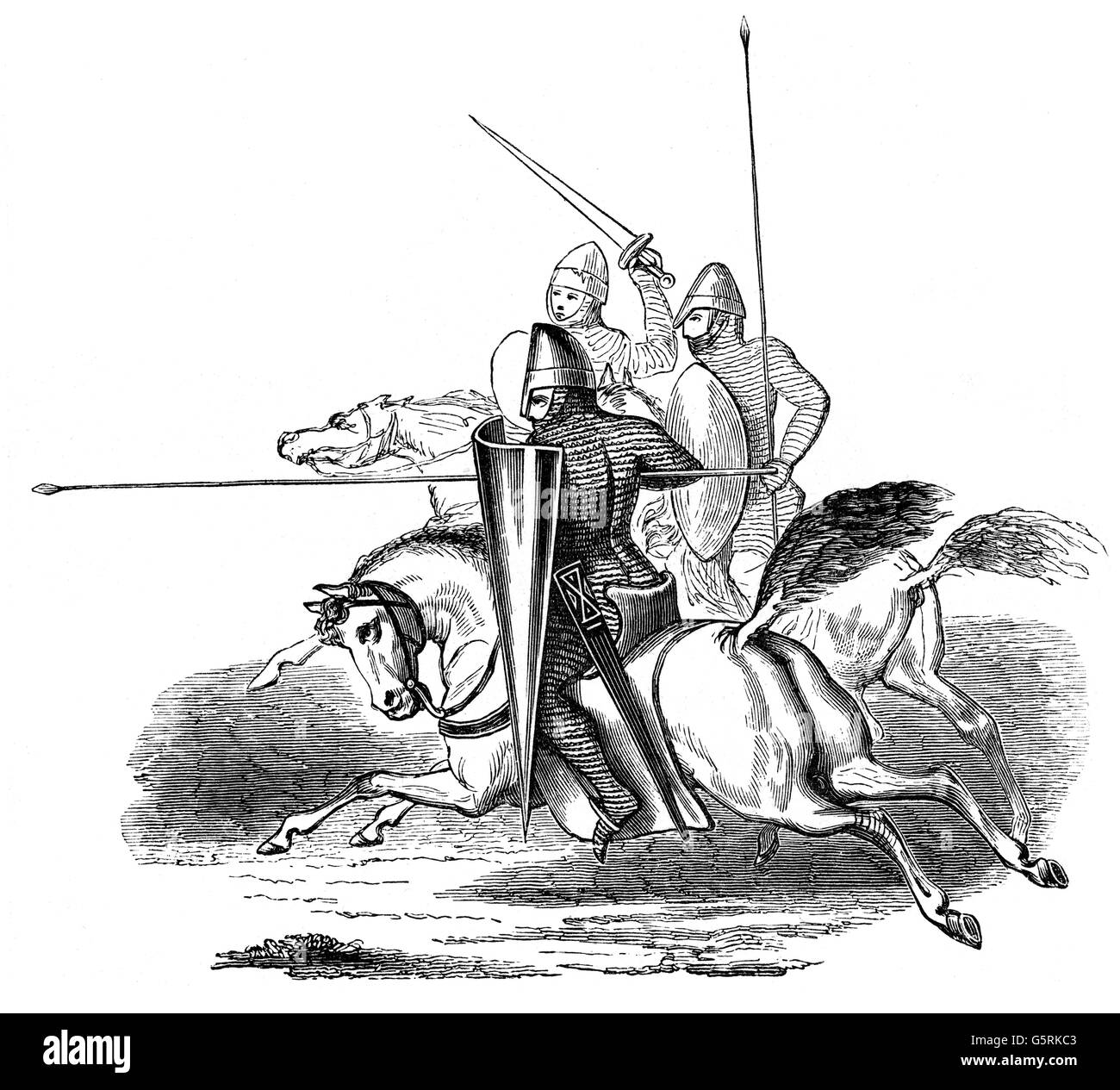military, Middle Ages, attacking knights, at the time of King Louis VI ('the Fat') of France (reign: 1108 - Stock Image