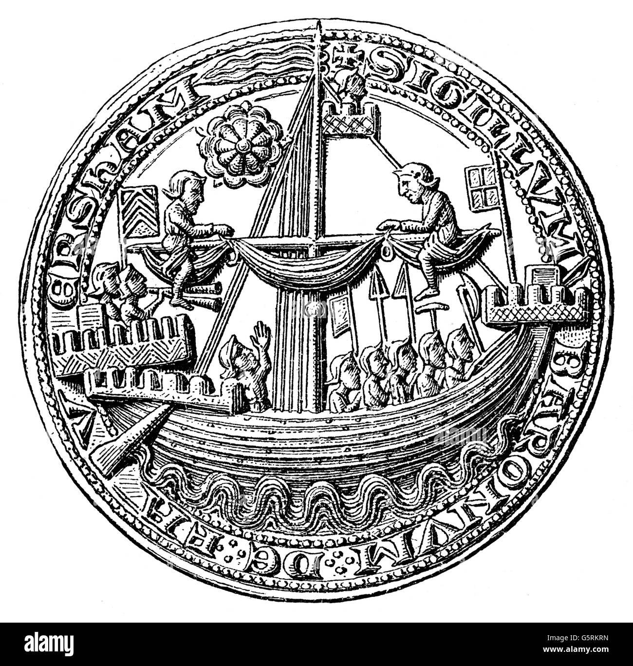 transport / transportation, navigation, warship, English war cog, wood engraving, 19th century, after seal of the - Stock Image