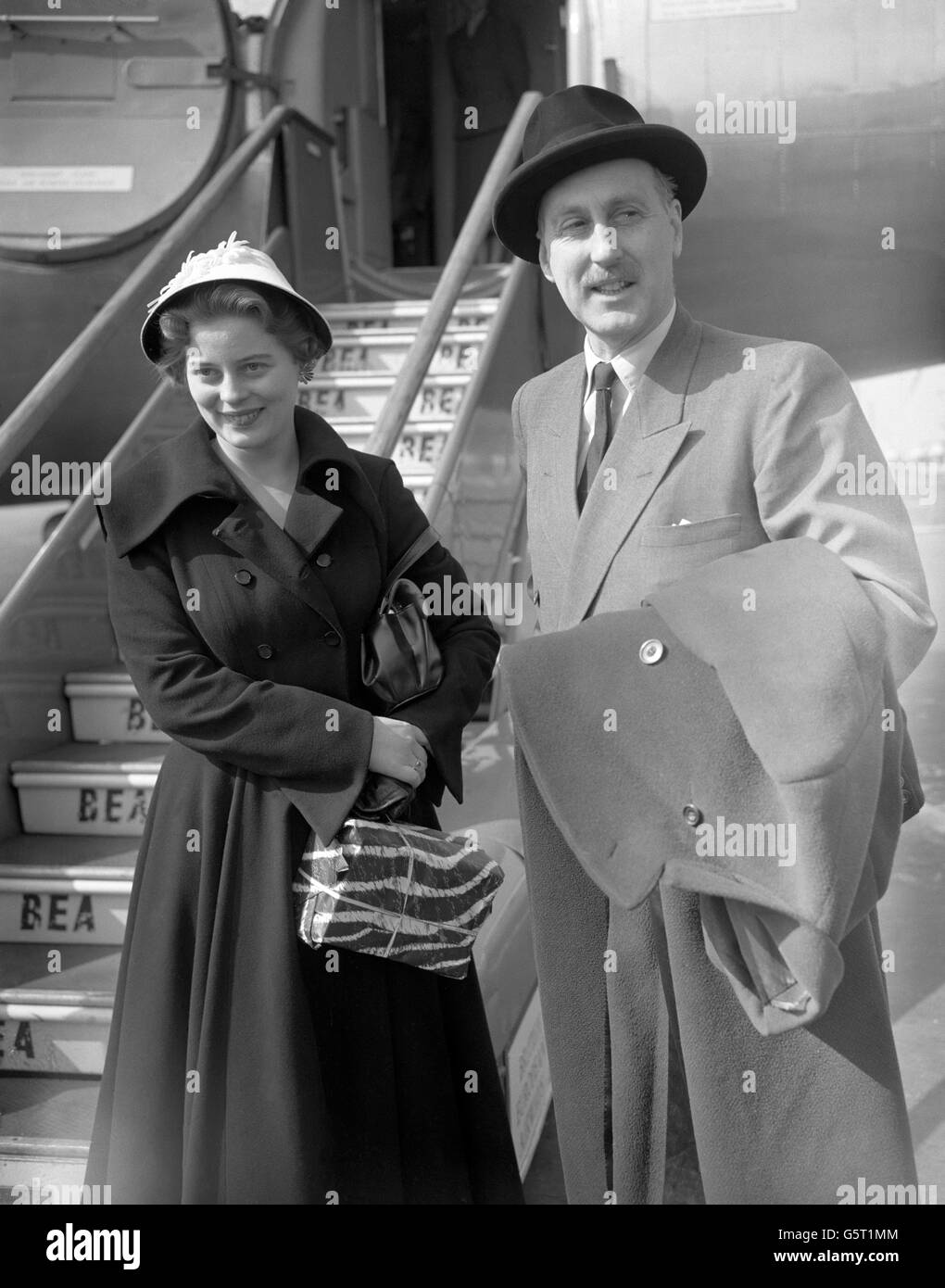 Royalty - Princess Margarita of Baden and her father Prince Bertfold, Margrave of Baden - London Airport Stock Photo