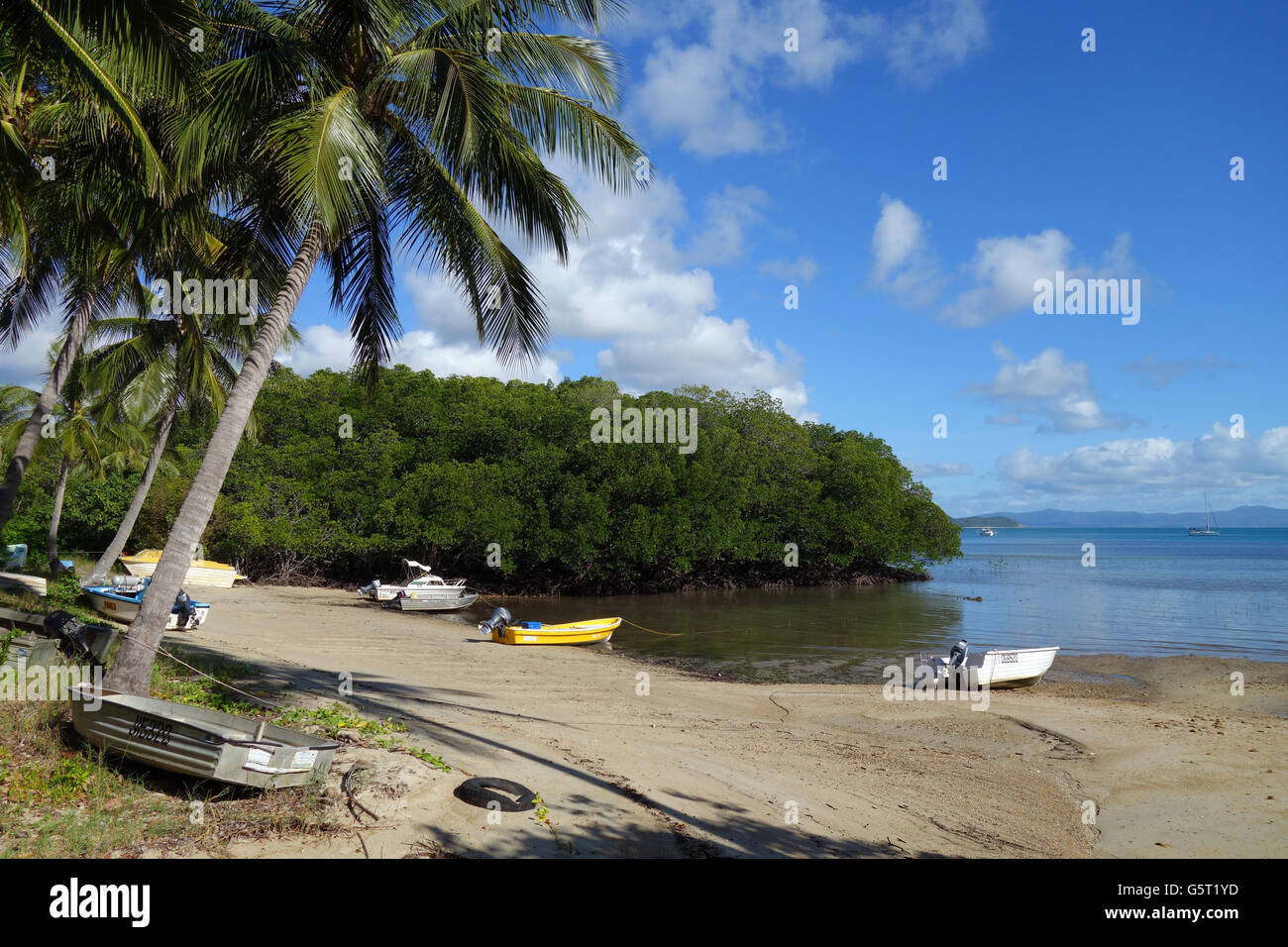 Boats on beach at Portland Roads, Cape York Peninsula, Queensland, Australia. No PR - Stock Image