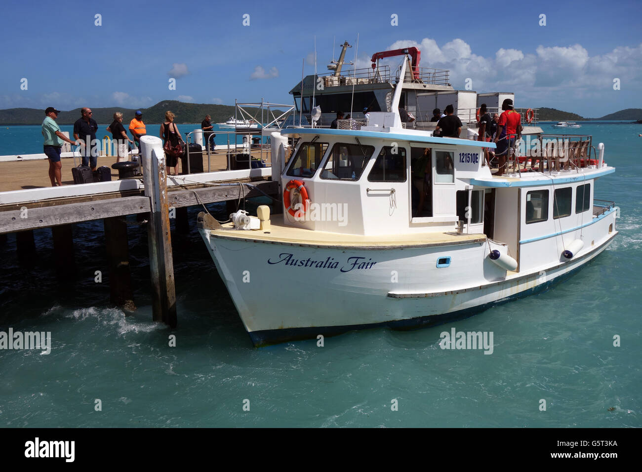 People waiting to board the Australia Fair ferry from Thursday Island to Horn Island, Torres Strait, Queensland, - Stock Image