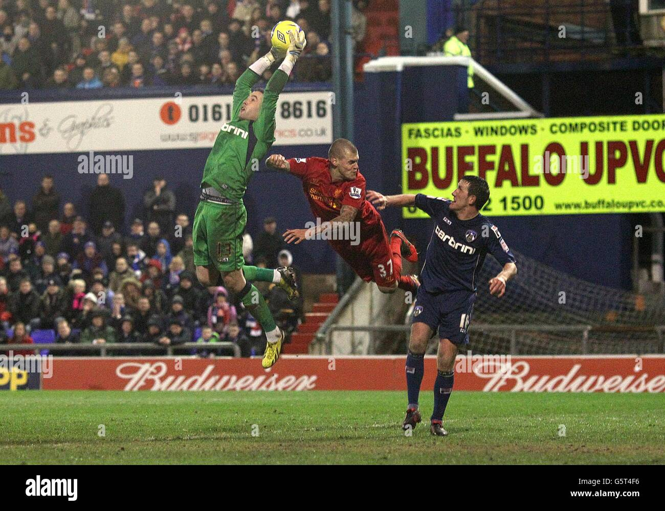 Soccer - FA Cup - Fourth Round - Oldham Athletic v Liverpool - Boundary Park - Stock Image