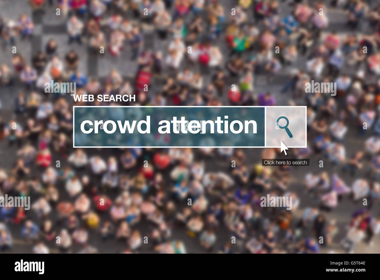 Crowd attention web search box, looking for definition in internet glossary. - Stock Image