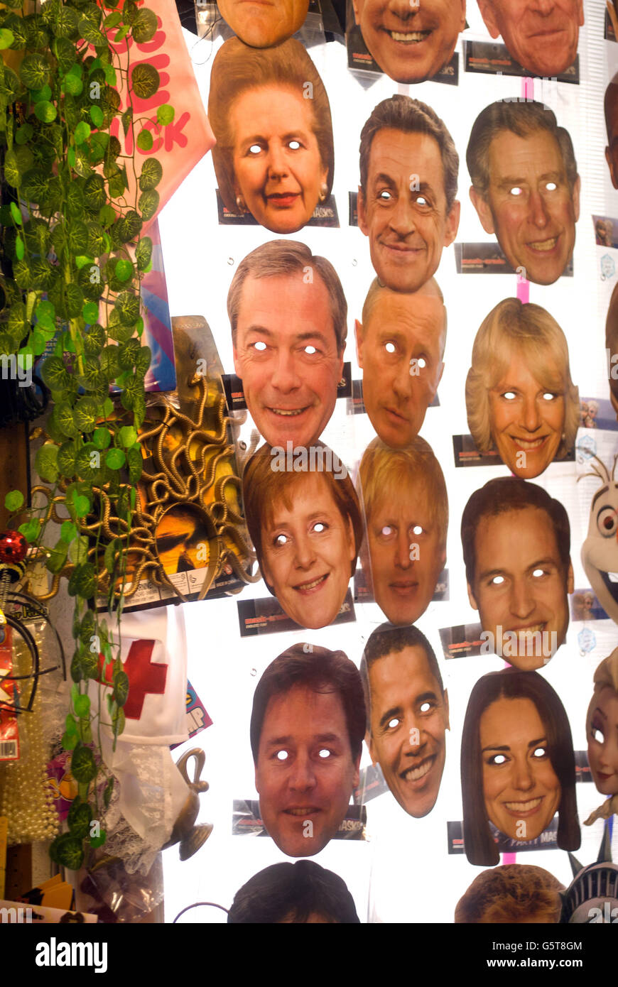 Joke shop masks of celebrities and politicians - Stock Image