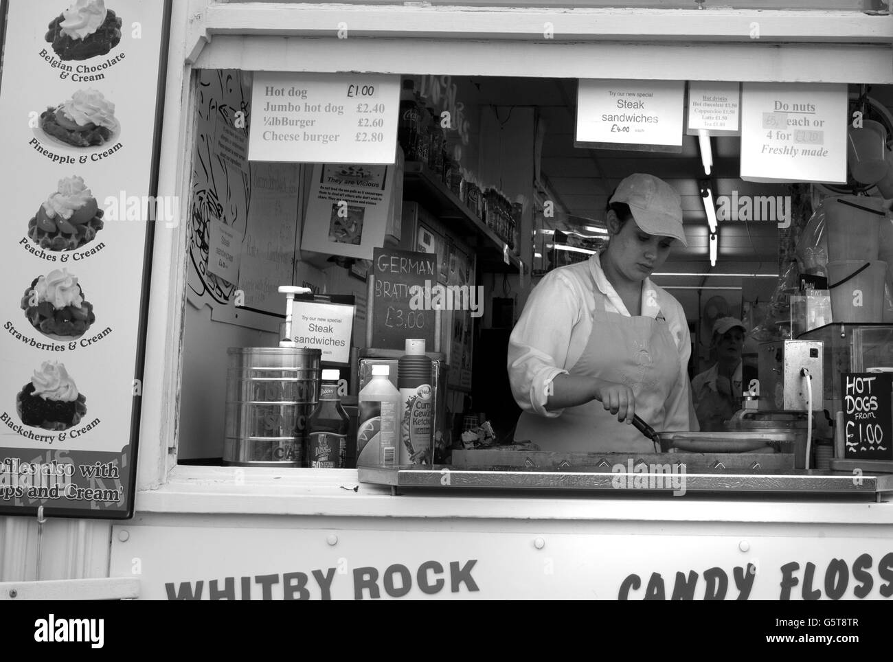 Fast food stall, Whitby, North Yorkshire - Stock Image