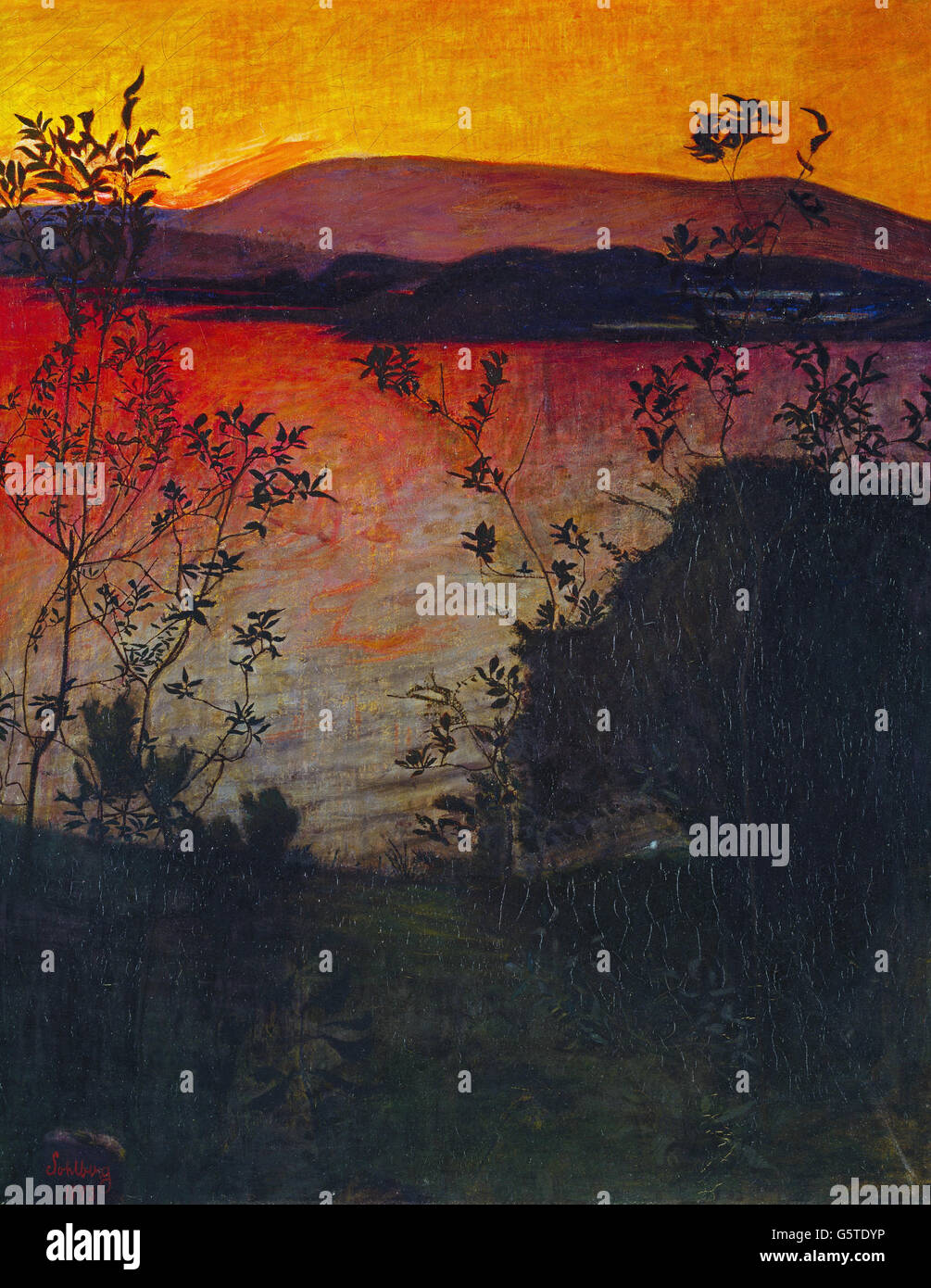 Harald Sohlberg - Evening Glow - Stock Image