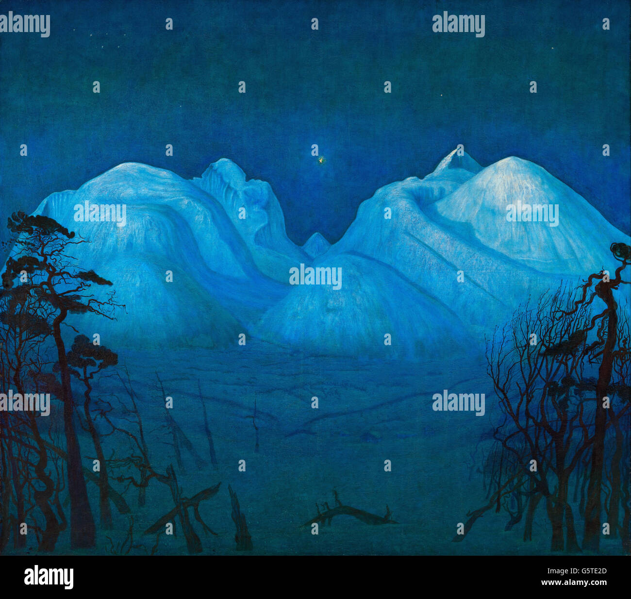 Harald Sohlberg - Winter Night in the Mountains - Stock Image