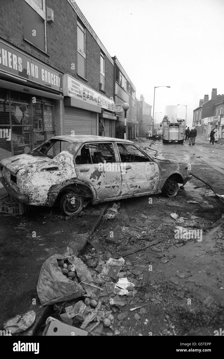 British Crime - Civil Disturbance - The Handsworth Riots - Birmingham - 1985 - Stock Image