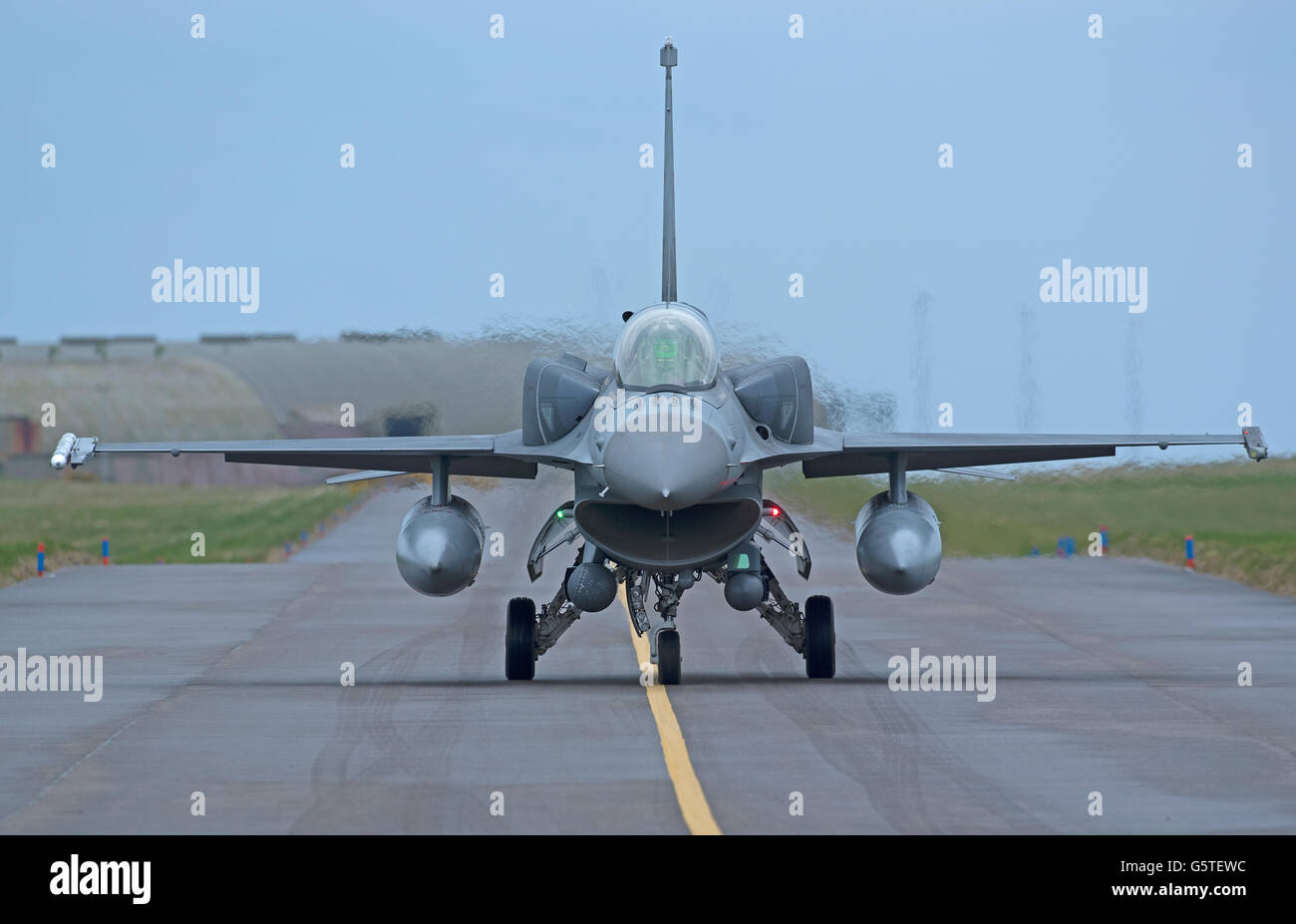 Turkish Air Force General Dynamics F16 Single seat fighter Jet Serial Reg 07-1005 Joint RAF Lossiemouth Exercise. - Stock Image
