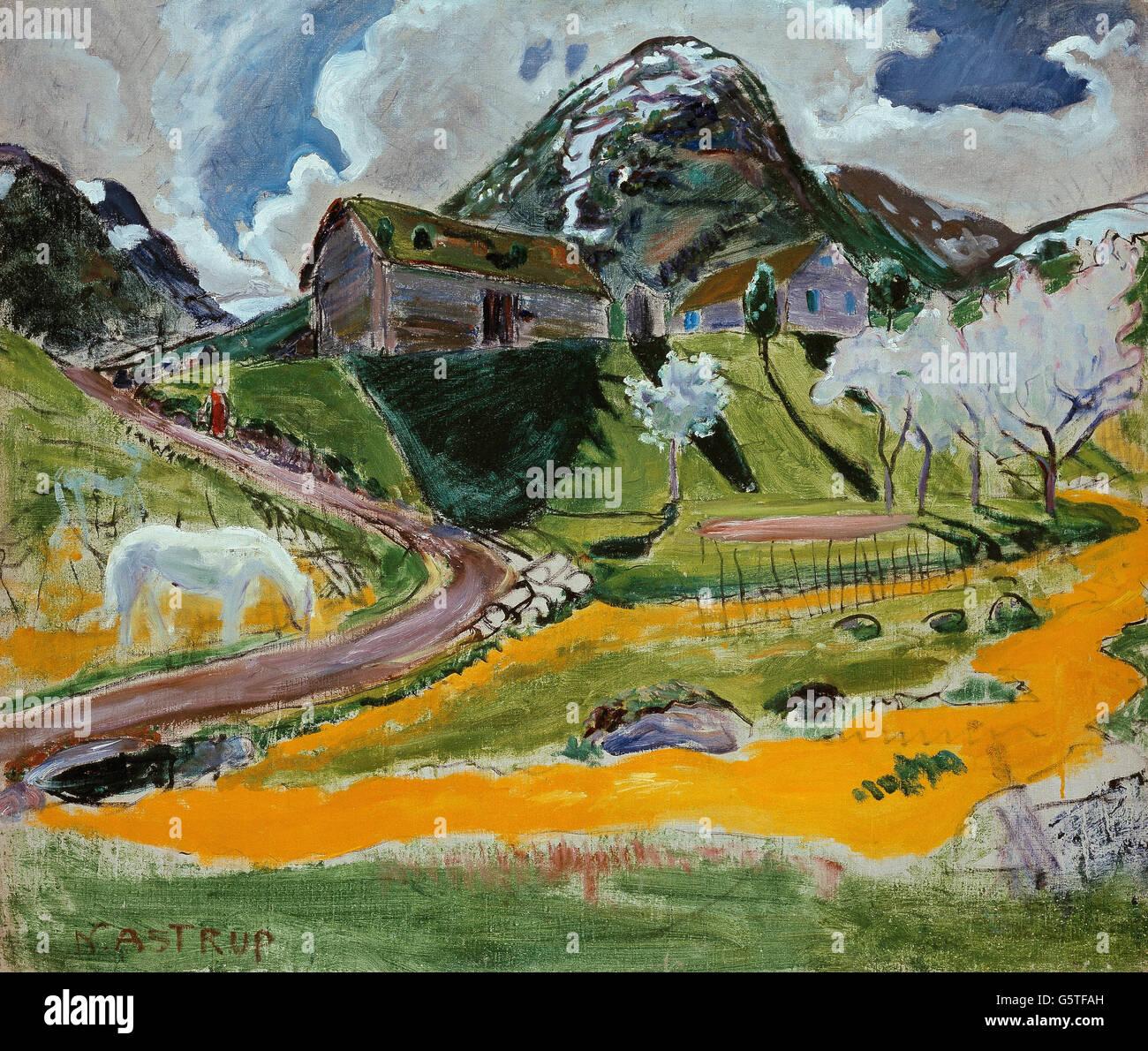 Nikolai Astrup - The white Horse in Spring - Stock Image
