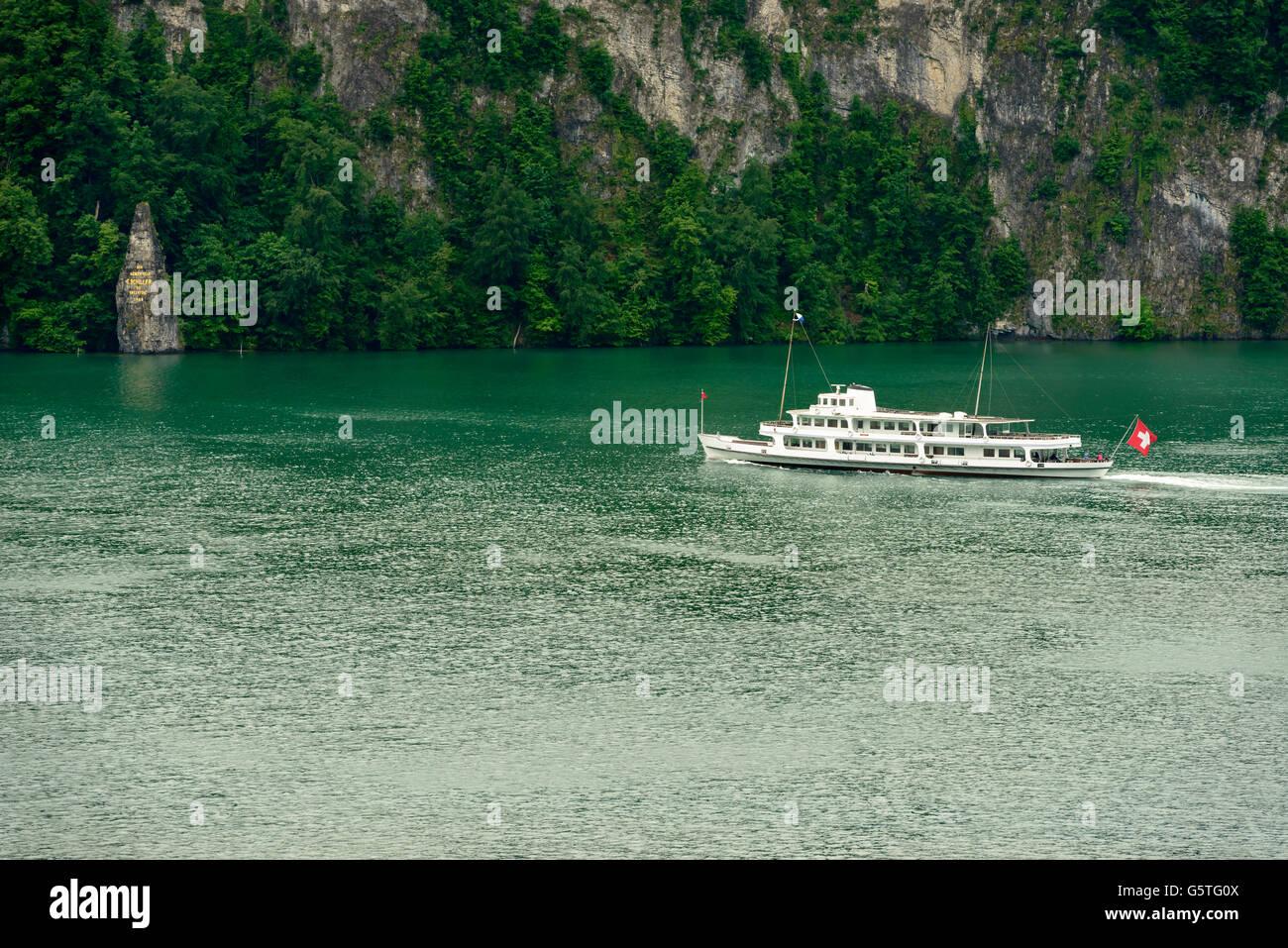 passenger vessel  on Viervald lake, Schwyz, Switzerland - Stock Image