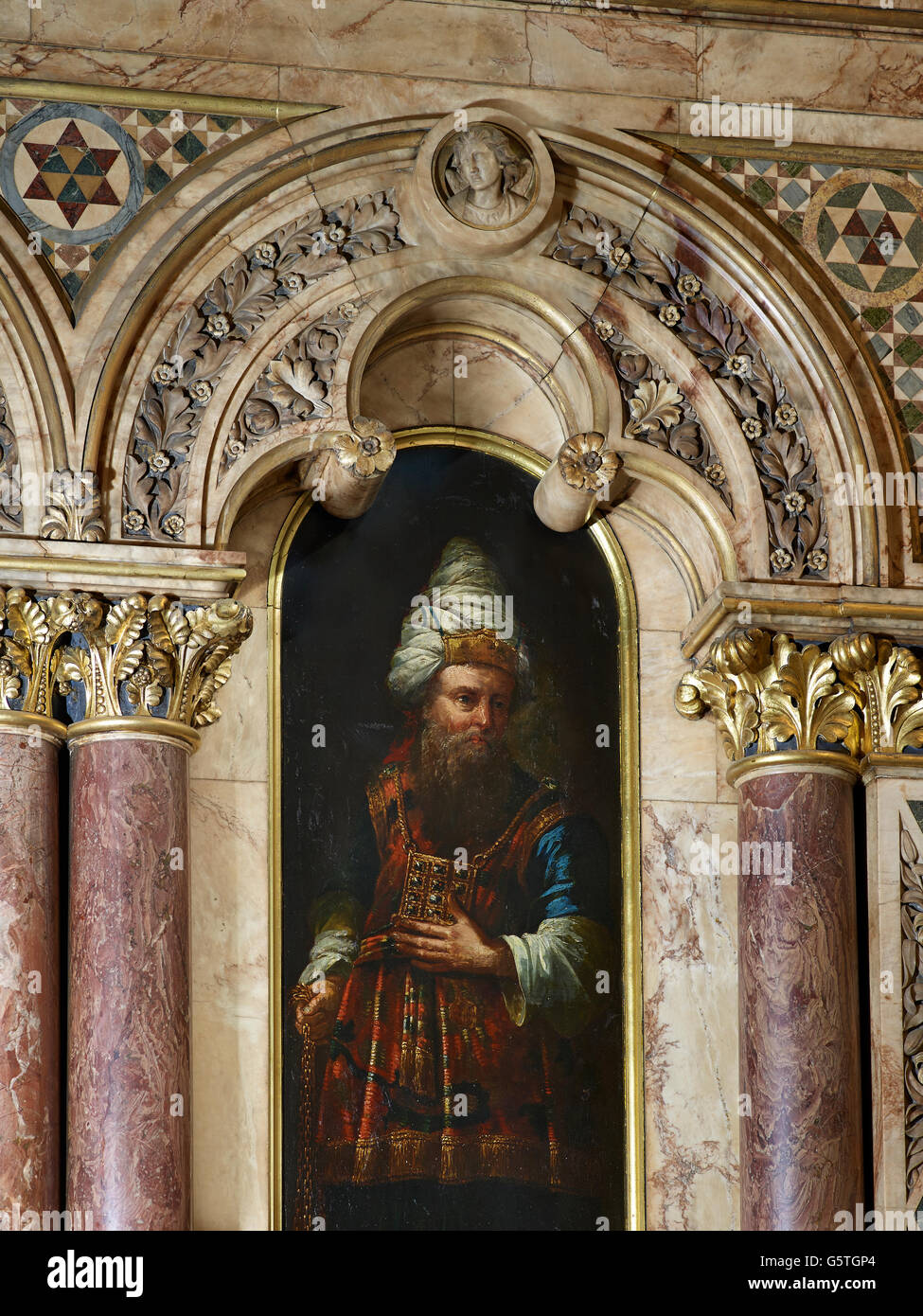 St Michael Cornhill, church in the City of London, painting of Aaron by Robert Streeter - Stock Image