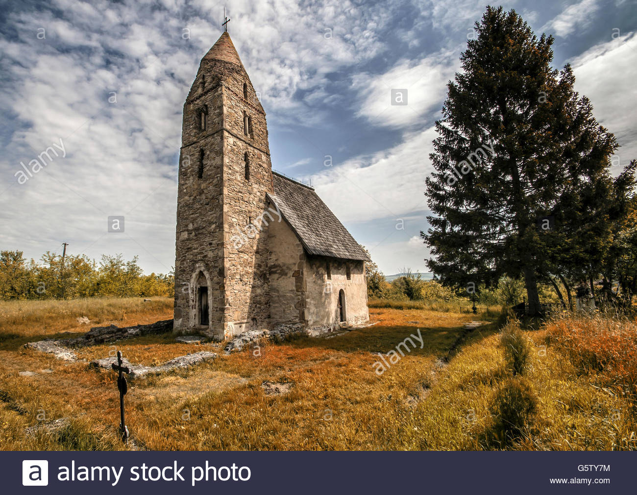 Strei - stone church, mentioned in documents in 1392. - Stock Image