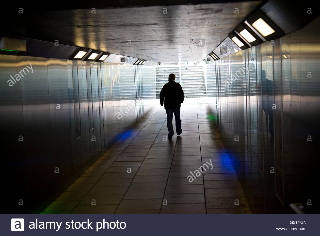 Man walking through underpass Stock Photo: 106883973 - Alamy