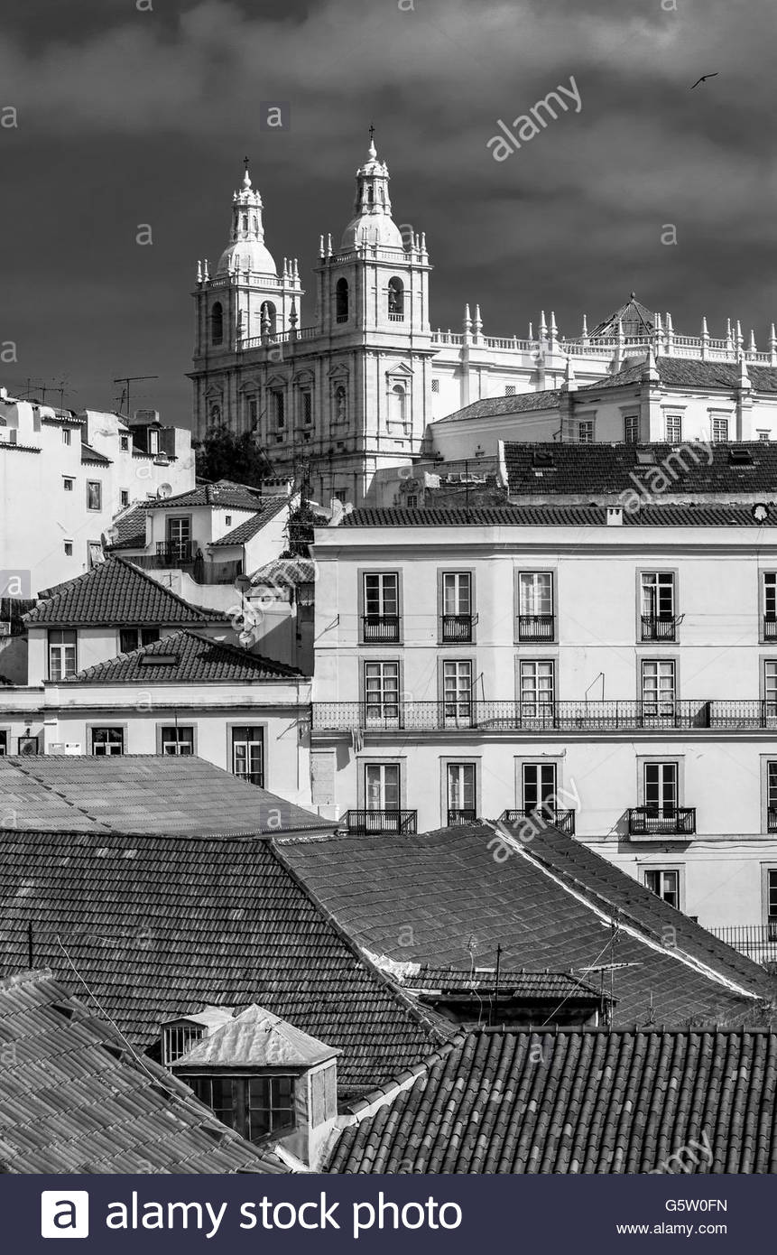 a view of Lisbon and its roofs - Stock Image
