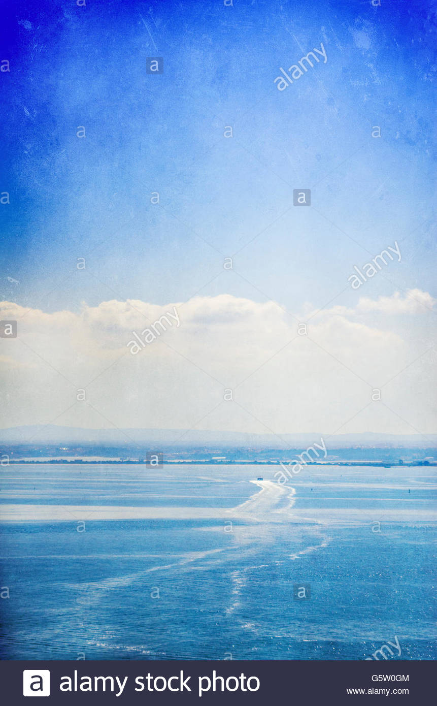 a view in blue from the Tage in Lisbon - Stock Image