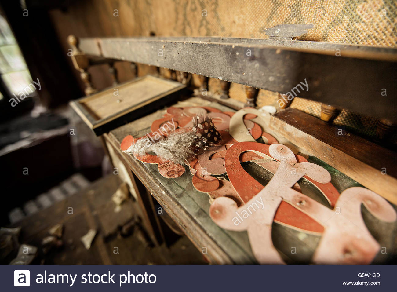 Old cut out letters on decaying bureau stock photo alamy