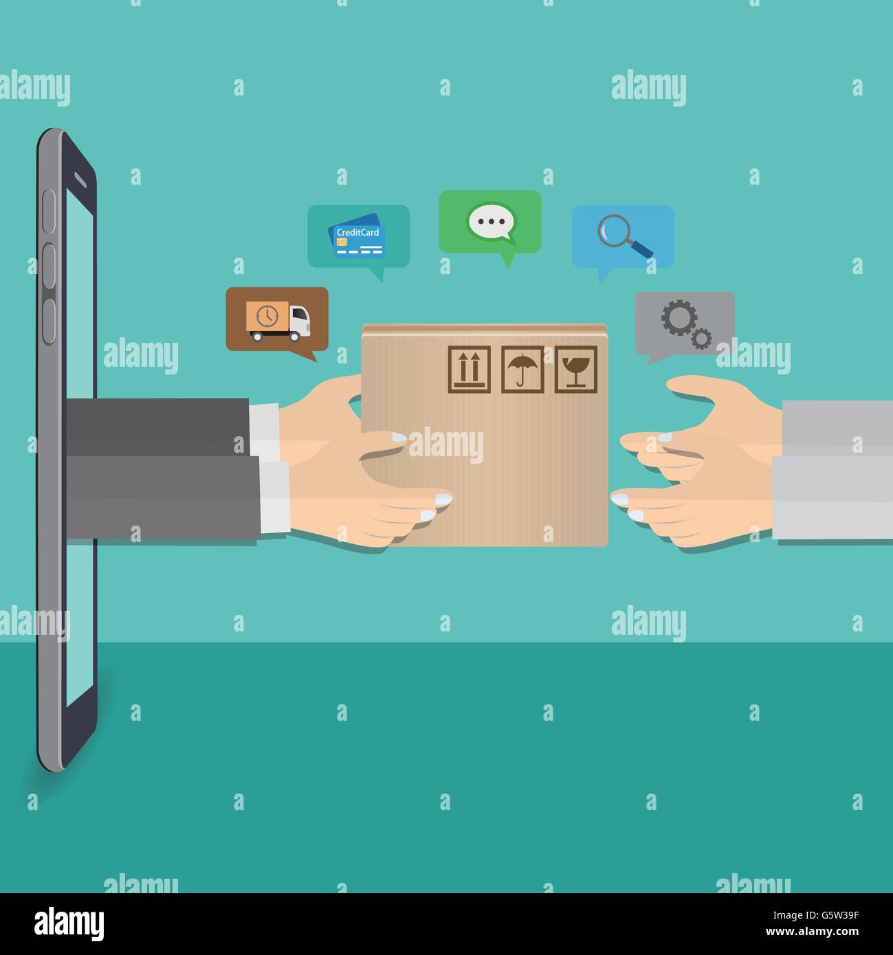 Delivery man hand with cardboard box from smartphone - Stock Image