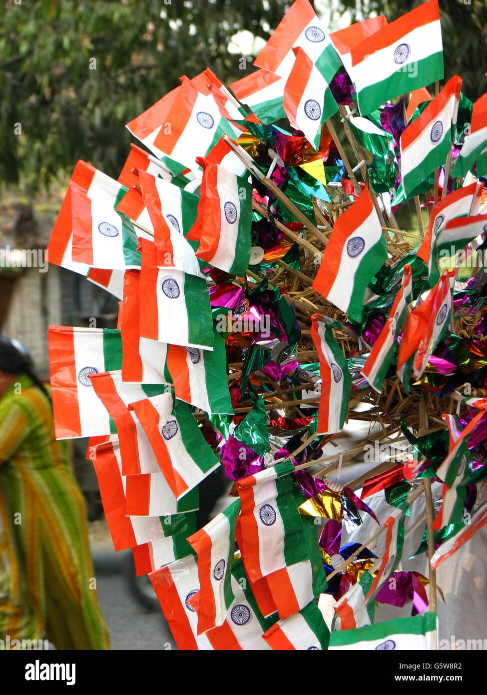 Indian flags on sale on the eve of Indian Independence Day