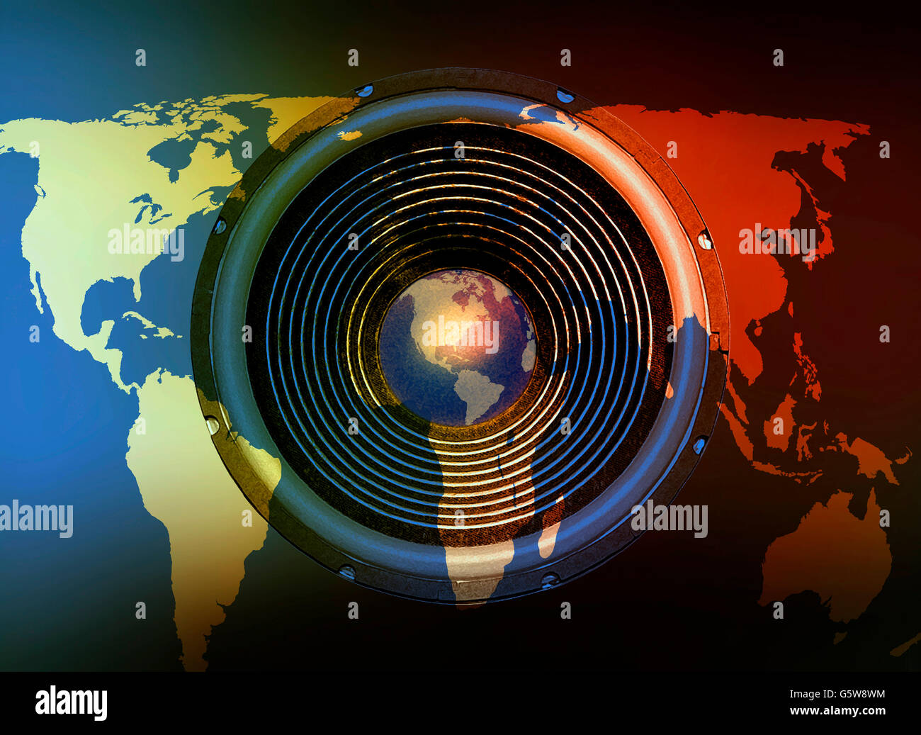 Speaker On A Day And Night World Map Background Stock Photo