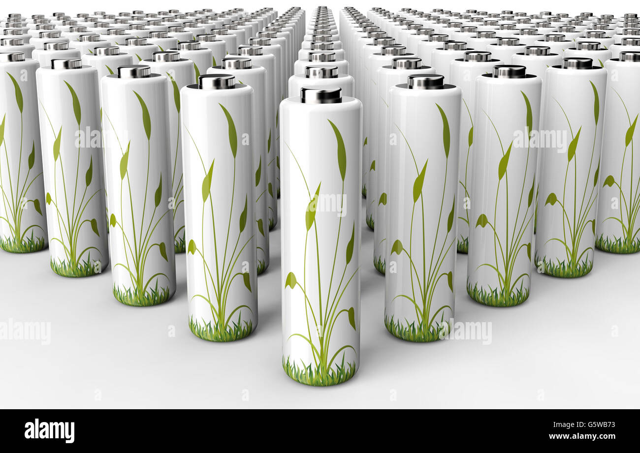 green engery concept battery with plant on it, 3d illustration - Stock Image