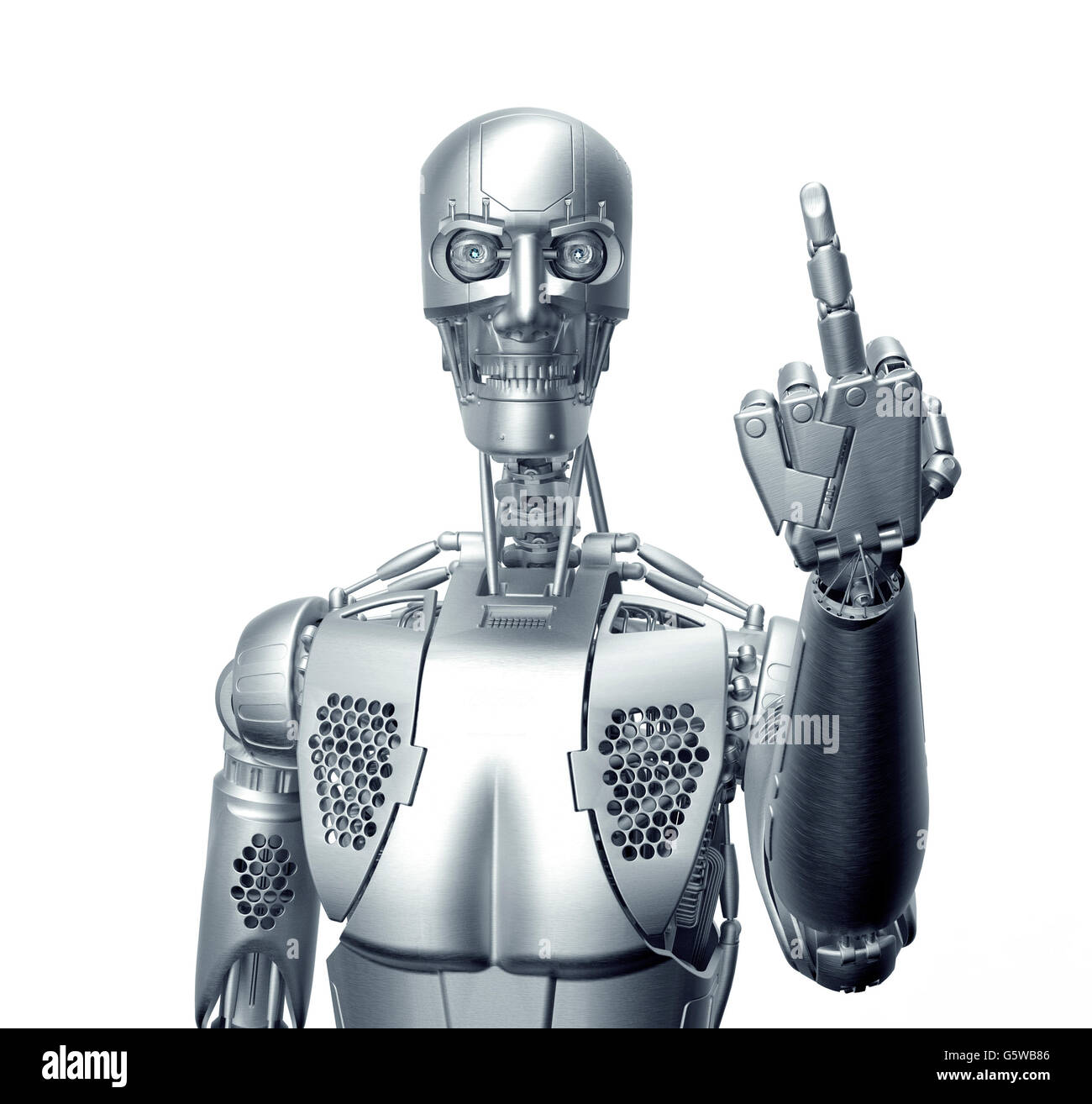 humanoid robot giving the finger with clipping path, 3d illustration - Stock Image