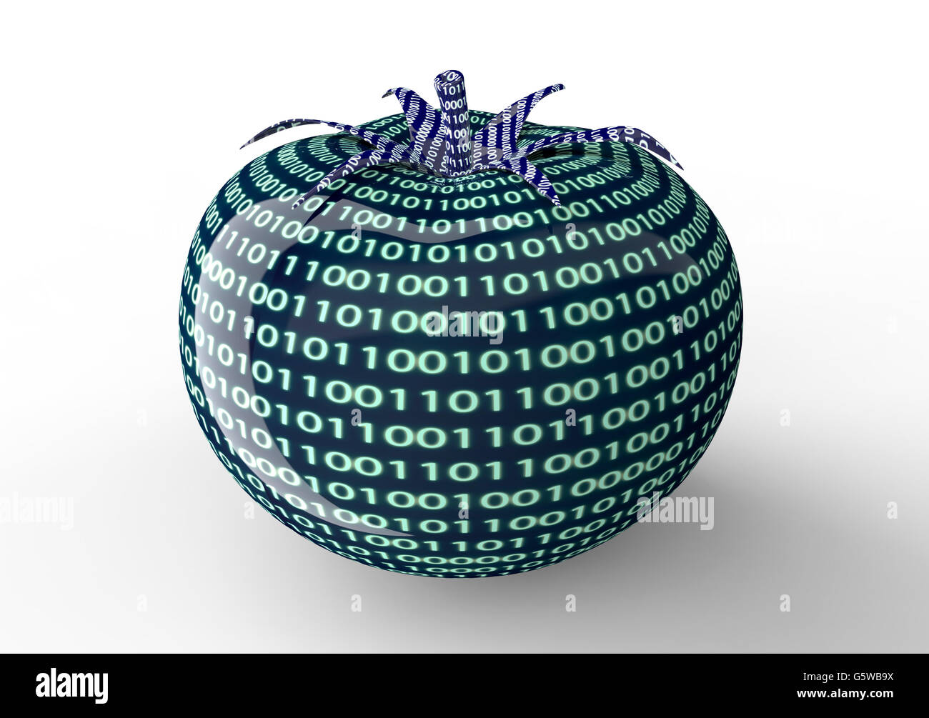 digital food, tomato made of technology , 3d illustration - Stock Image