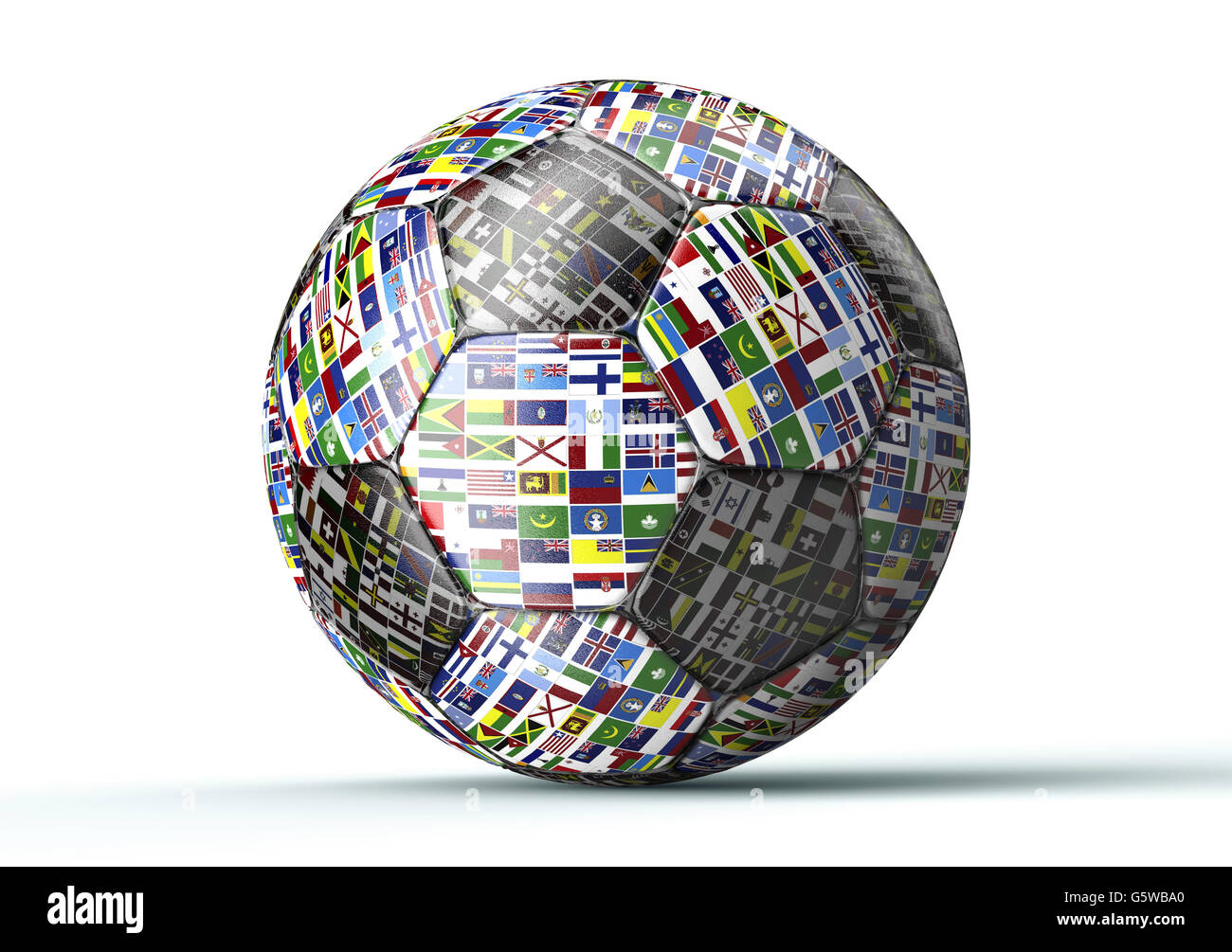 soccer ball with all flags of the world isolated on white , 3d illustration - Stock Image