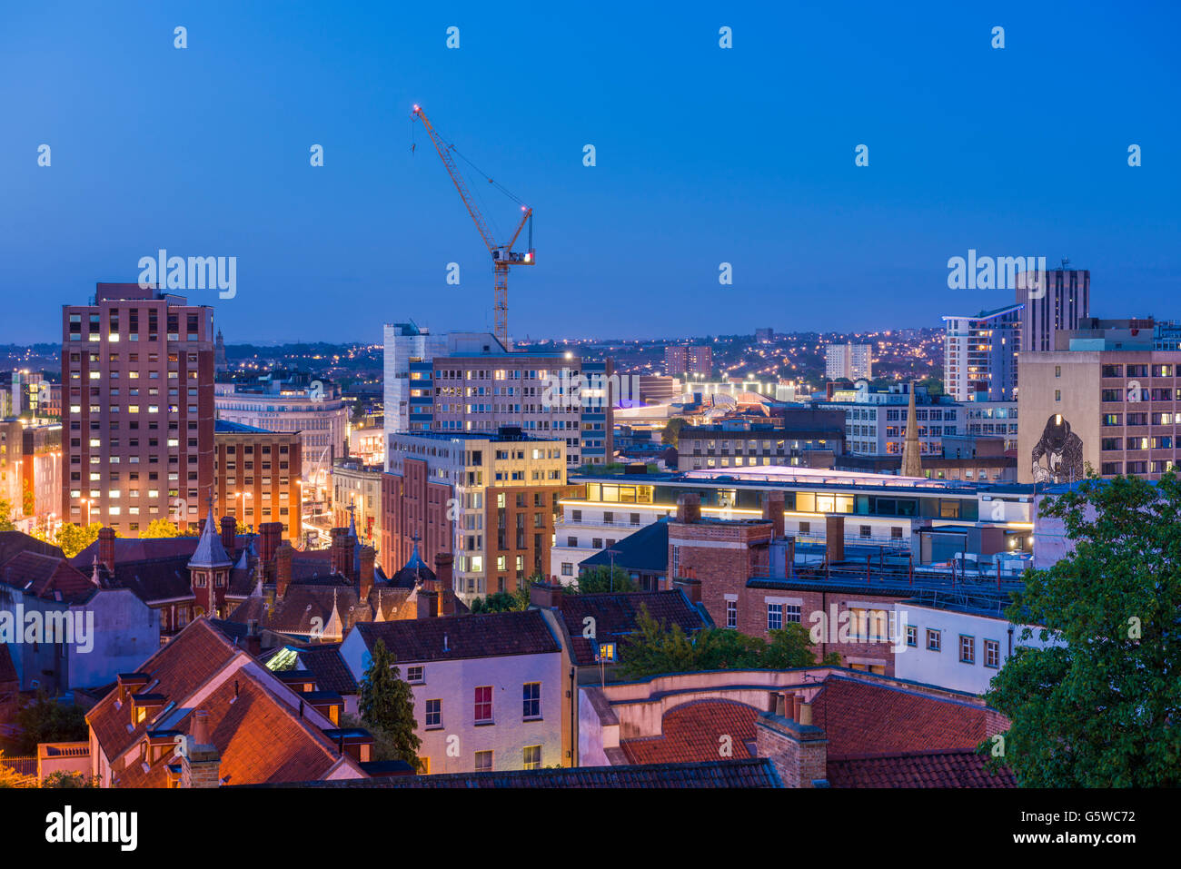 View over the City of Bristol skyline at dusk, England. - Stock Image
