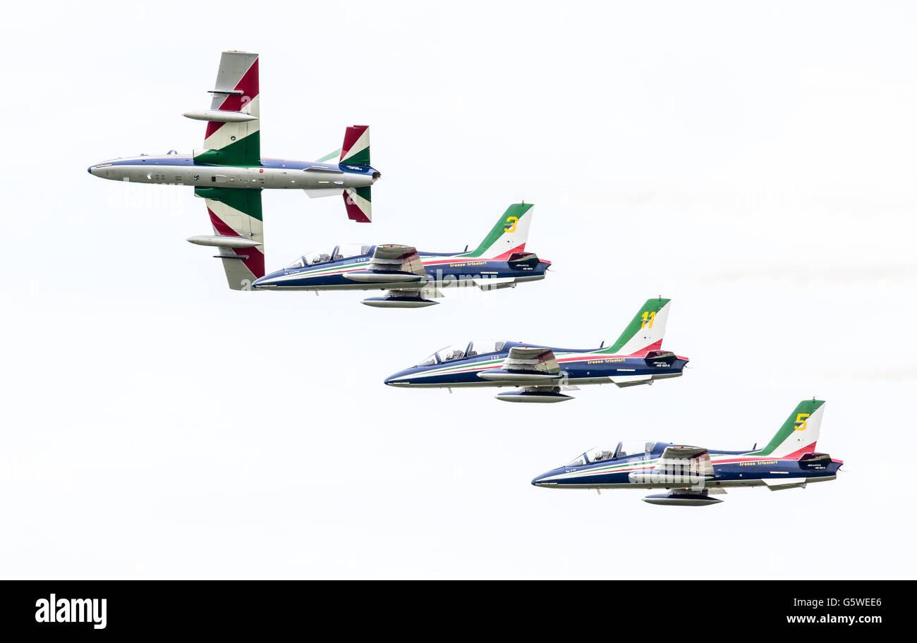 LEEUWARDEN, THE NETHERLANDS-JUNE 10, 2016: Italian aerobatic team Frecce Tricolori (Tricolor arrows) performs a - Stock Image