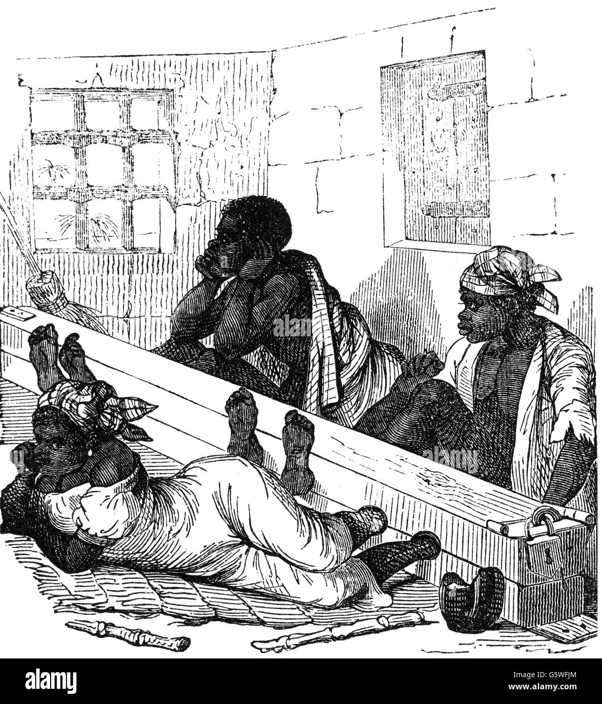 slavery, punishment, coloured slaves in the stocks, Southern States of the USA, wood engraving, 'Illustrierte - Stock Image