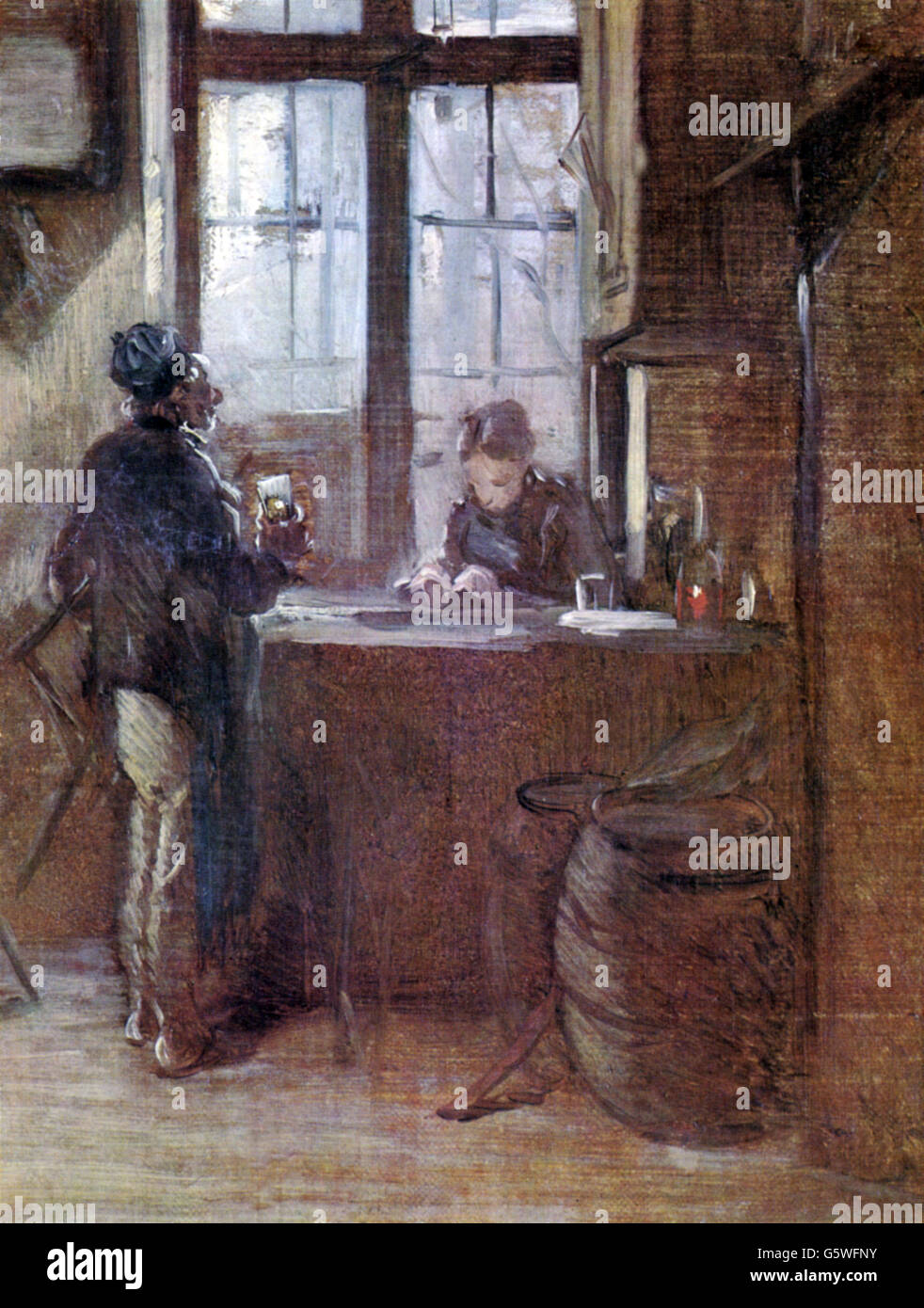 gastronomy, inns, scene at a tavern, painting, by Wilhelm Busch, (1832 - 1908), 19th century, 19th century, fine - Stock Image