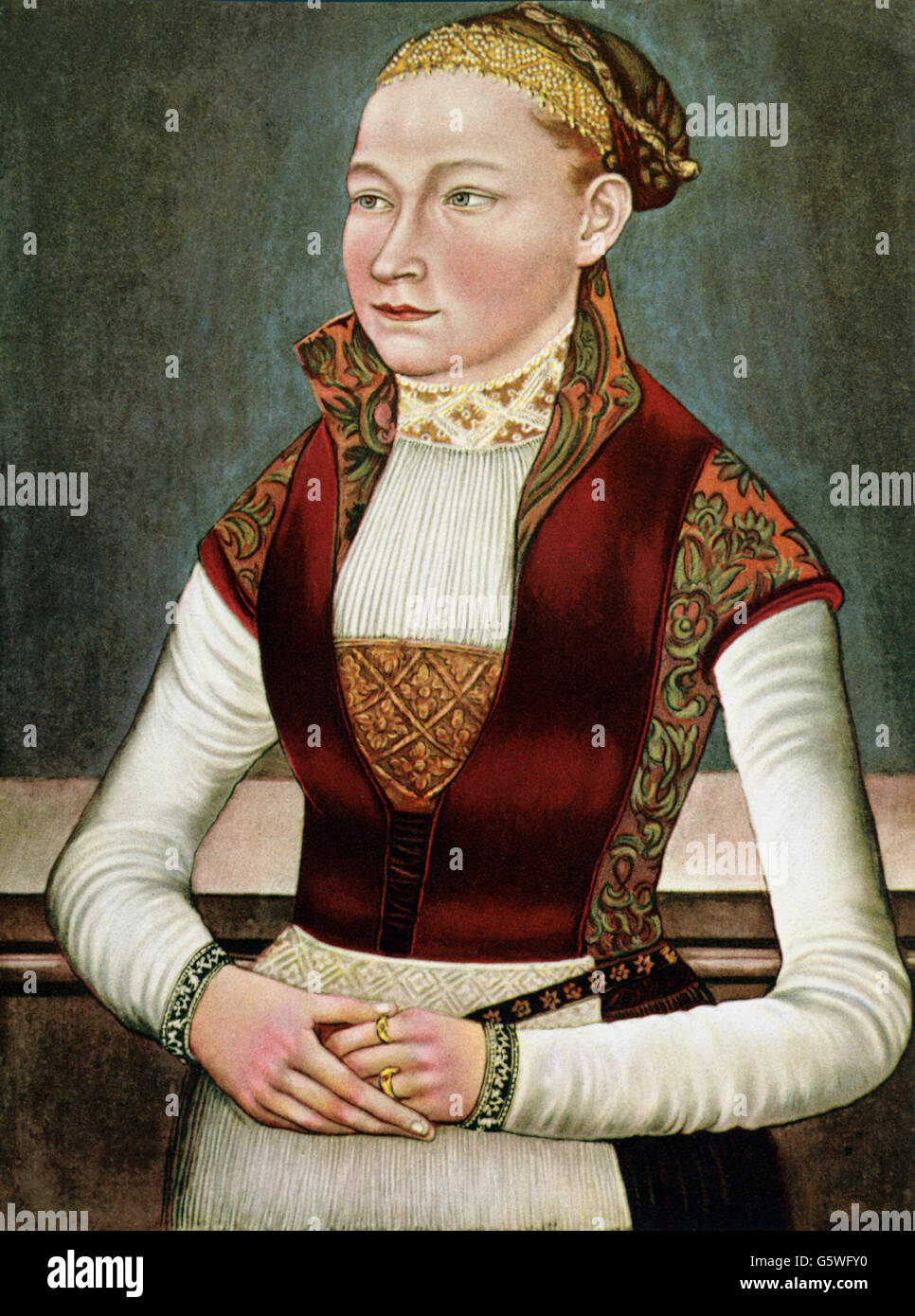 people, women, picture of a eighteen-year-old girl, print after painting, Saxon master, 1534, Additional-Rights - Stock Image