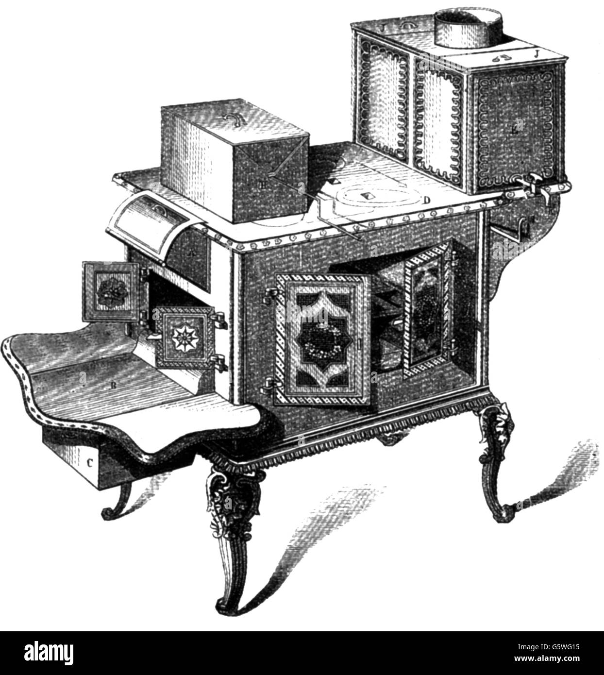 household, kitchen and kitchenware, cast-iron stove, USA, wood engraving, 19th century, 19th century, graphic, graphics, - Stock Image
