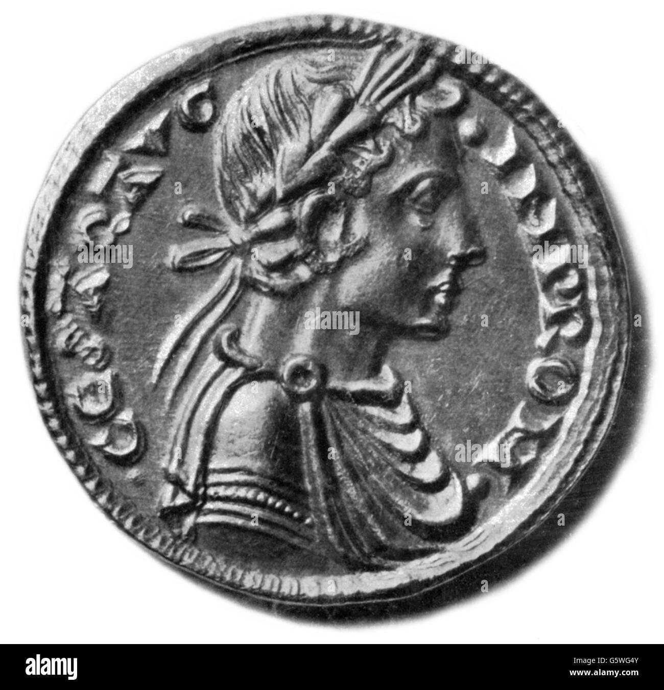 Frederick II, 26.12.1194 - 13 12.1250, Holy Roman Emperor 22.11.1220 - 13.12.1250, portrait, coin-portrait, Brindisi, - Stock Image
