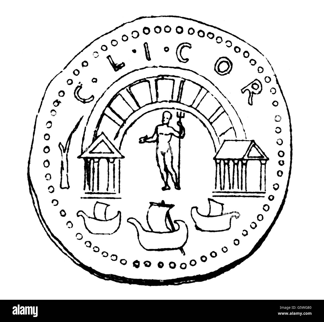 money / finances, coins, ancient world, Greece, coin with depiction of the harbour of Corinth, from Roman times, - Stock Image