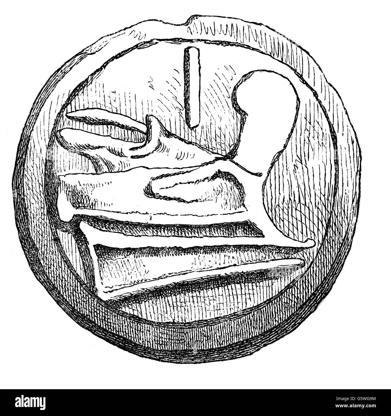 money / finances, coins, ancient world, Roman Empire, ace, reverse, image of a ram bow, wood engraving, 19th century, - Stock Image