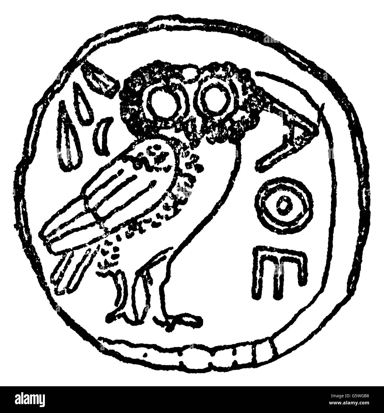 money / finances, coins, ancient world, Greece, tetradrachm, Athens, 5th century BC, drawing, 20th century, ancient - Stock Image
