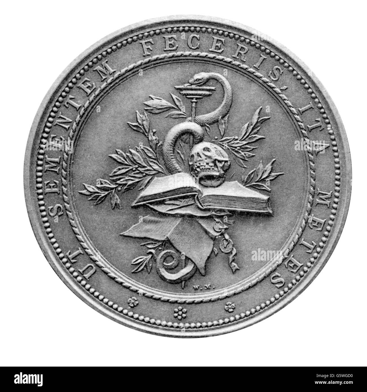 Koch, Robert, 11.12.1843 - 27. 5.1910, German bacteriologist, medal, reverse, Stuttgarter Metallwarenfabrik Mayer - Stock Image